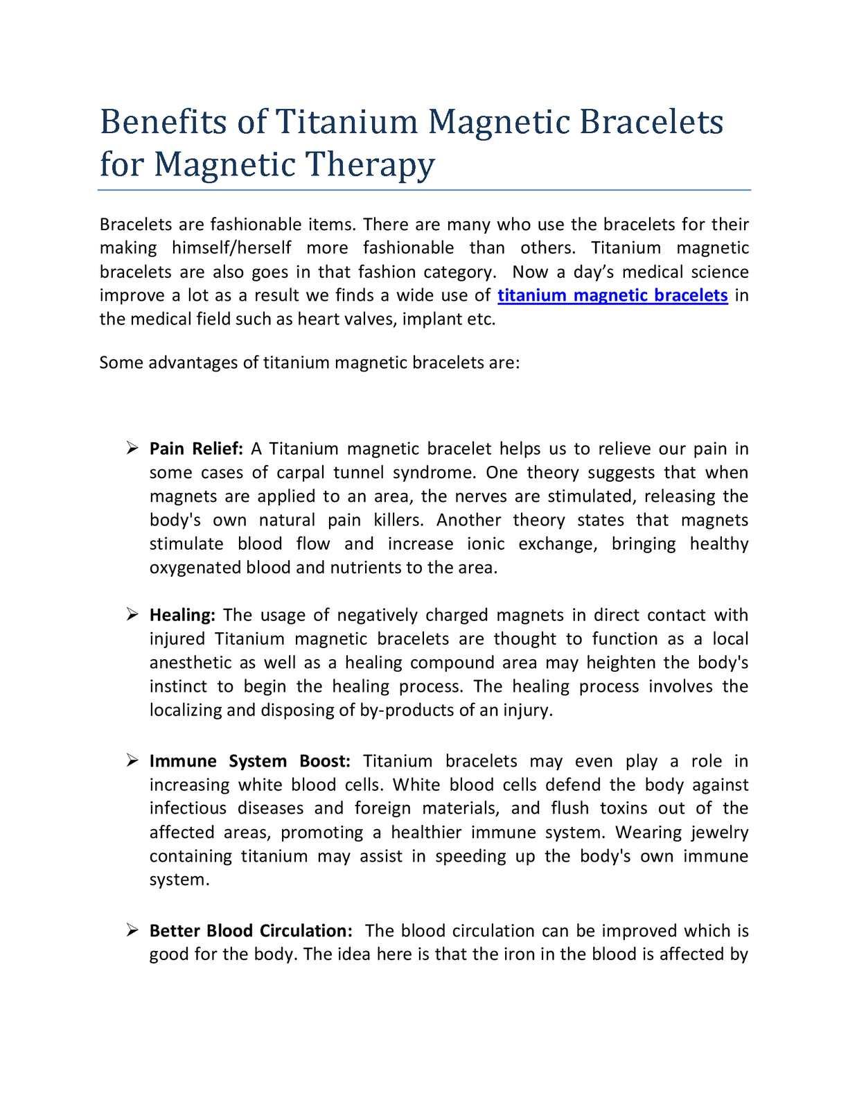 Calaméo - Benefits of Titanium Magnetic Bracelets for