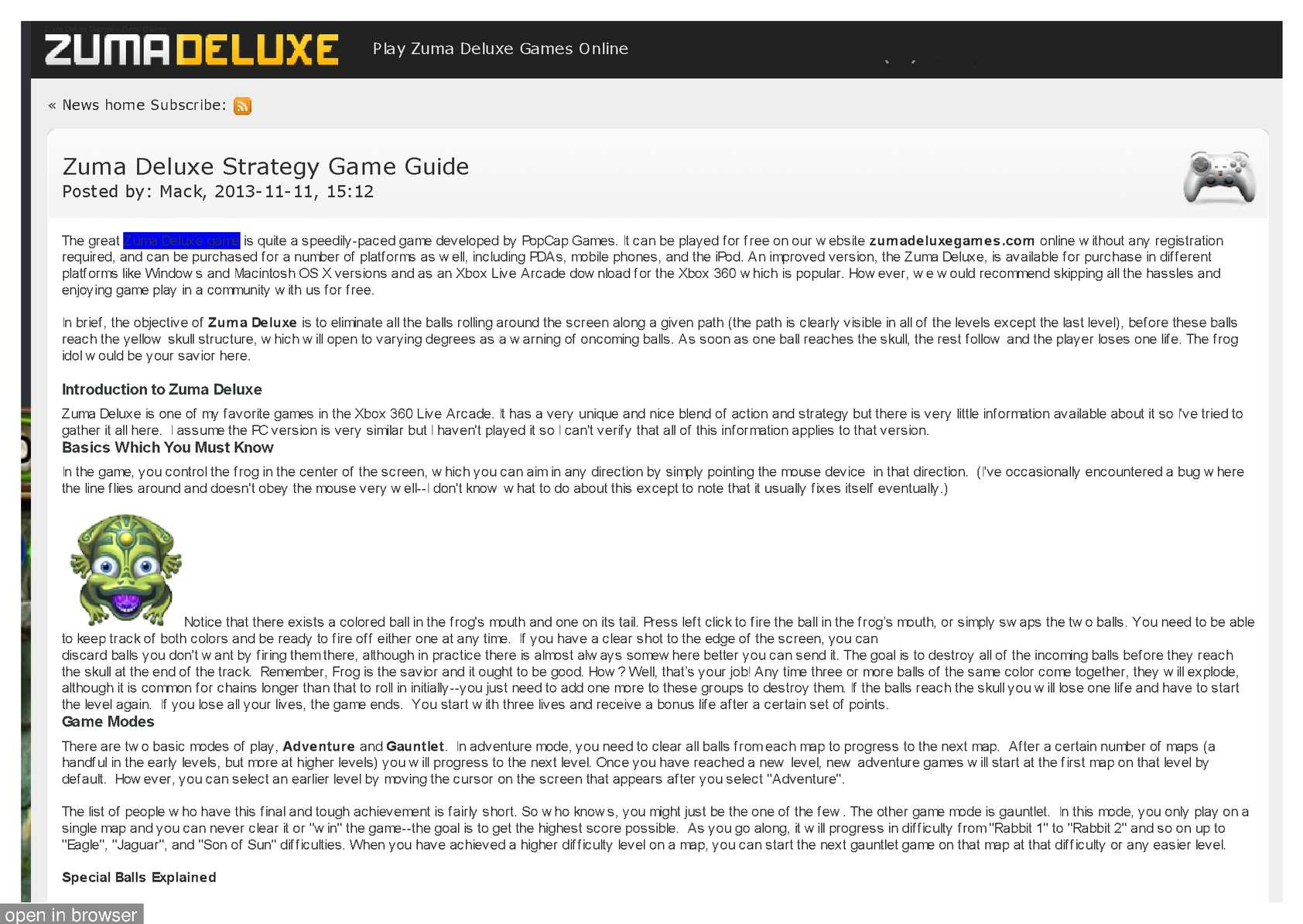 Calameo Zuma Deluxe Strategy Game Guide