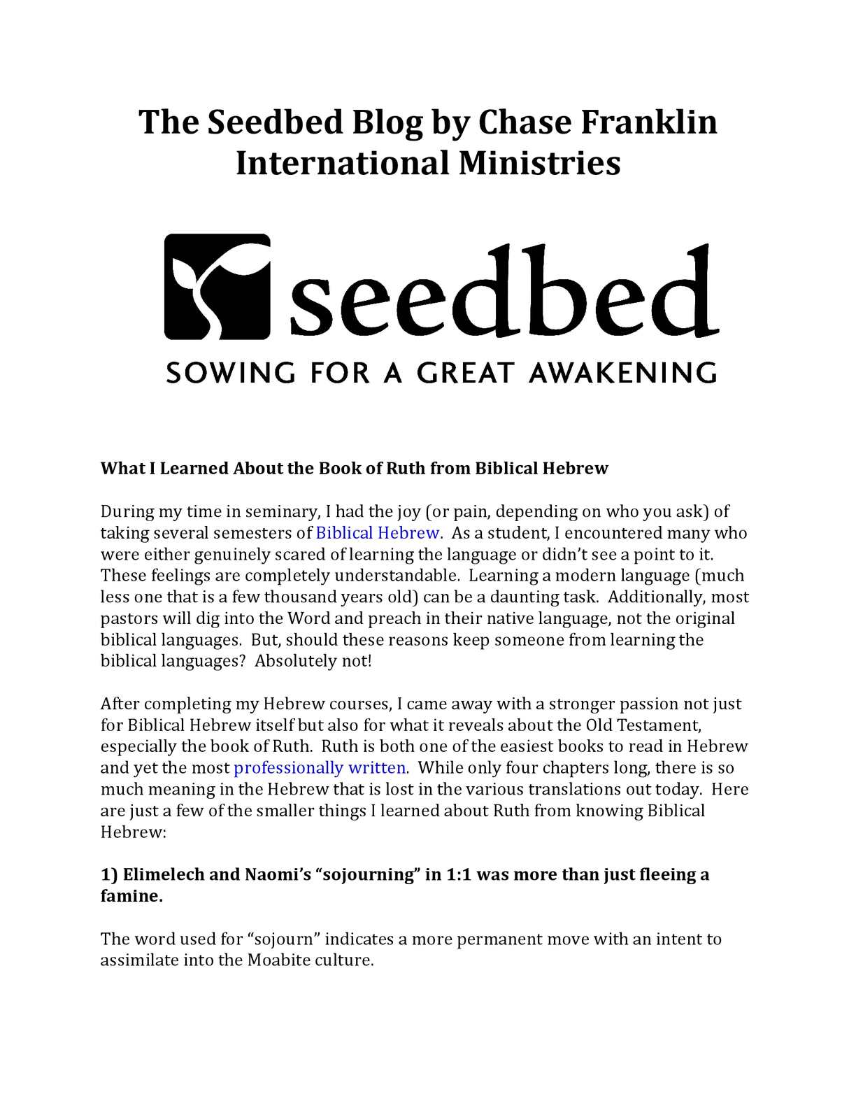 Calaméo - The Seedbed Blog by Chase Franklin International