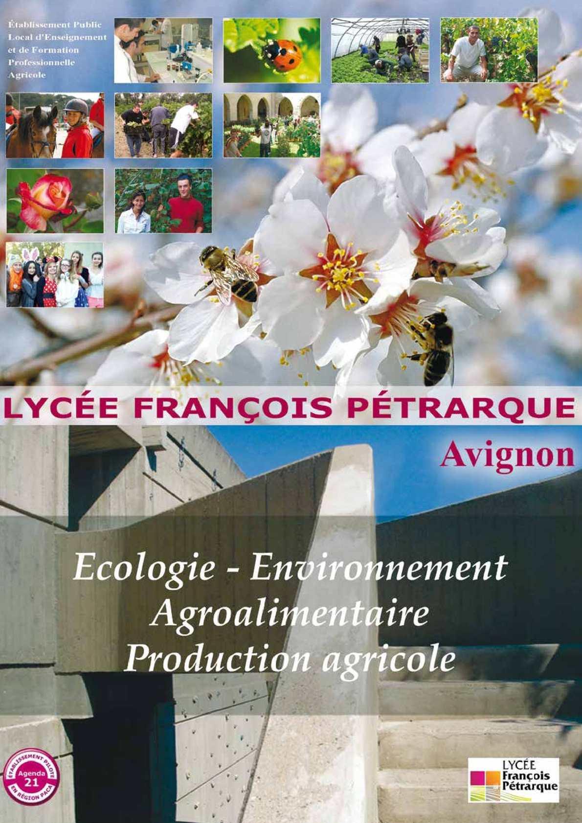 Calam o plaquette d 39 information du lyc e fran ois - Chambre agriculture avignon ...