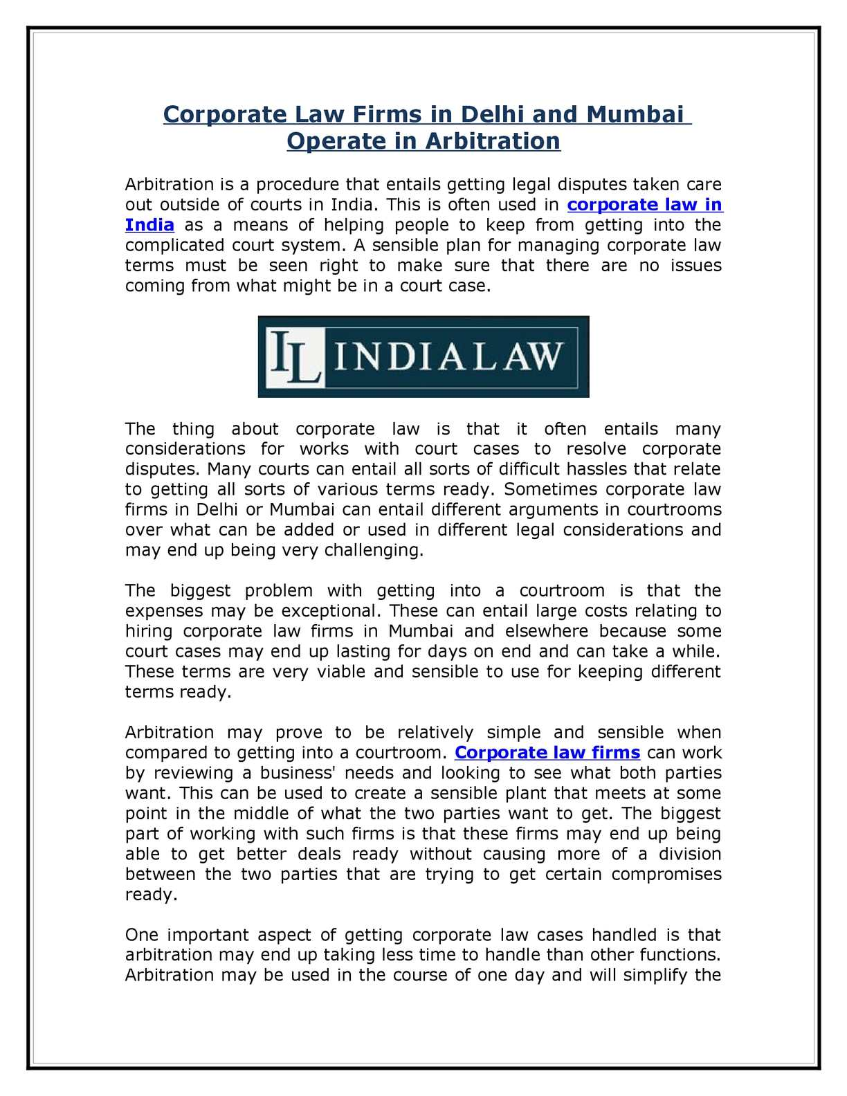 Calaméo - Corporate Law Firms in Delhi and Mumbai Operate in Arbitration