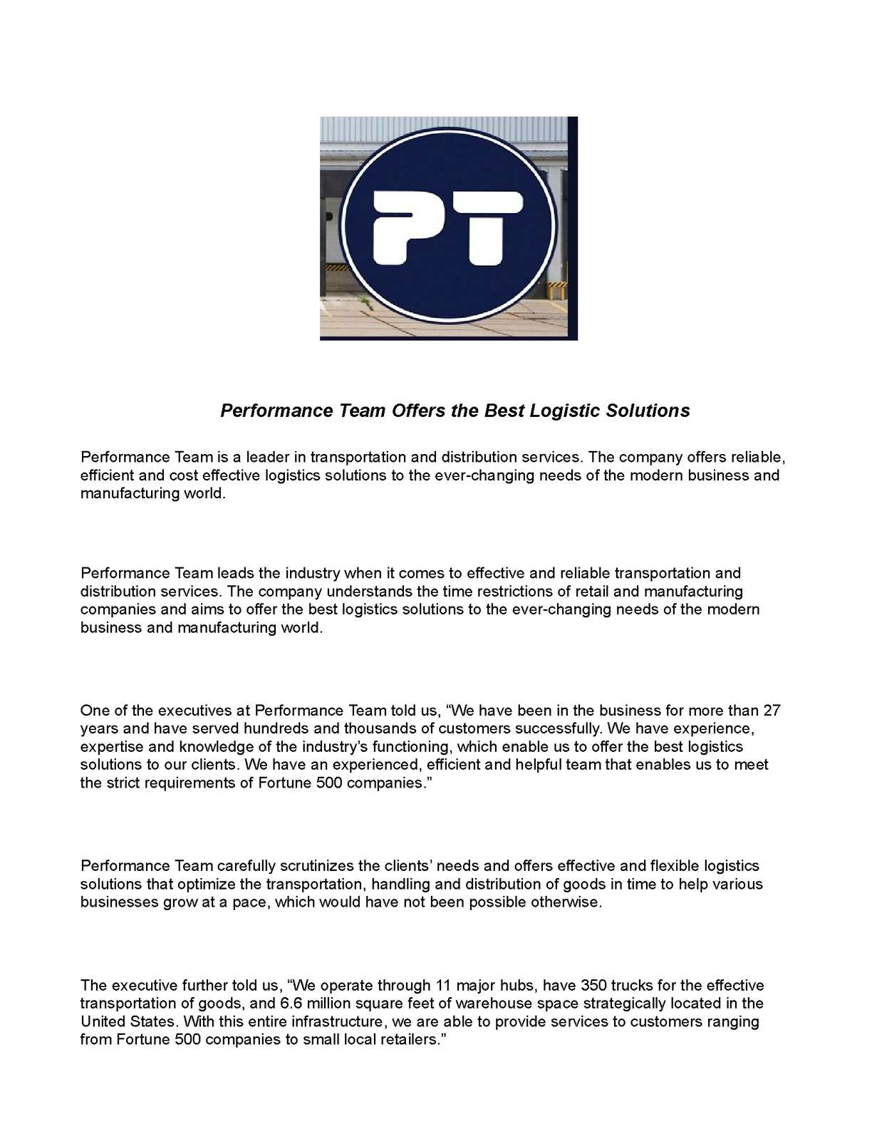 Calaméo - Performance Team Offers the Best Logistic Solutions