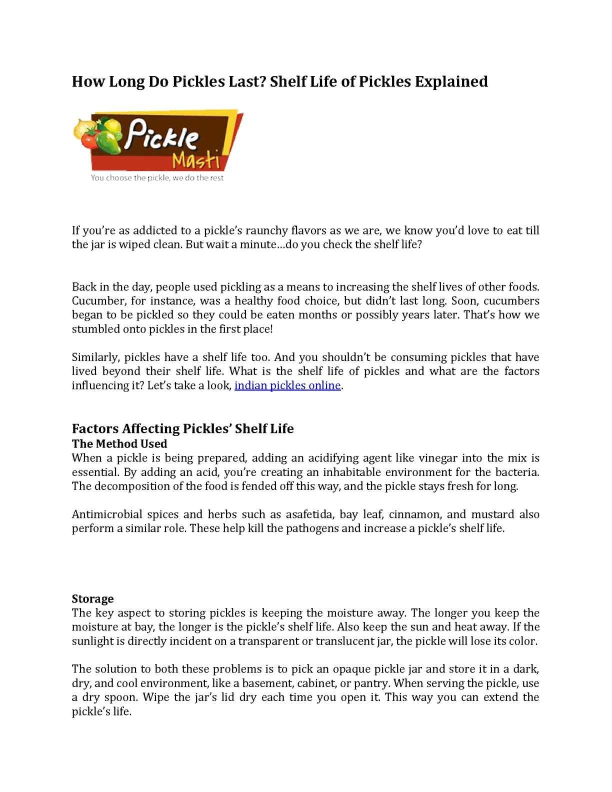 Calaméo - How Long Do Pickles Last? Shelf Life of Pickles