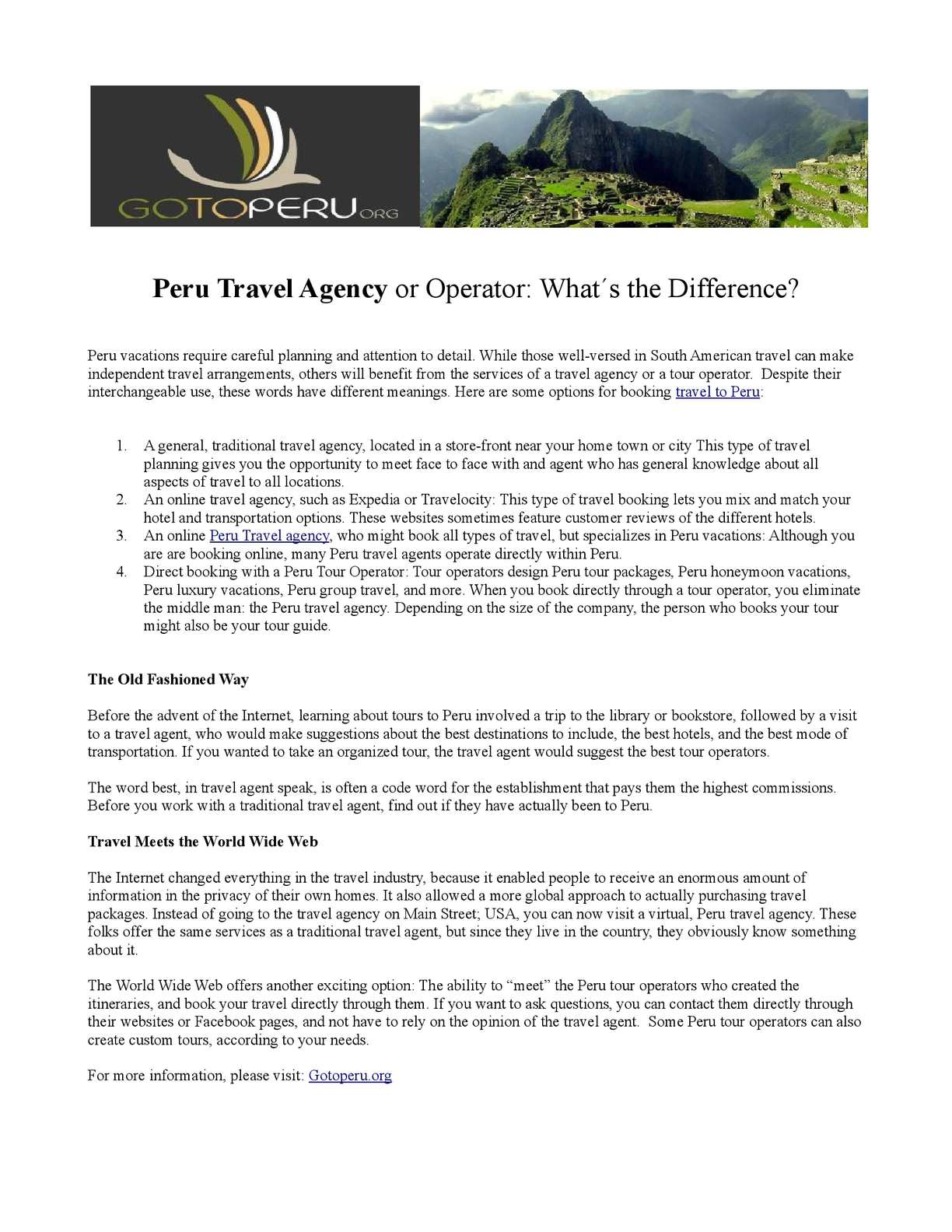 Calaméo - Peru Travel Agency or Operator: What´s the Difference?