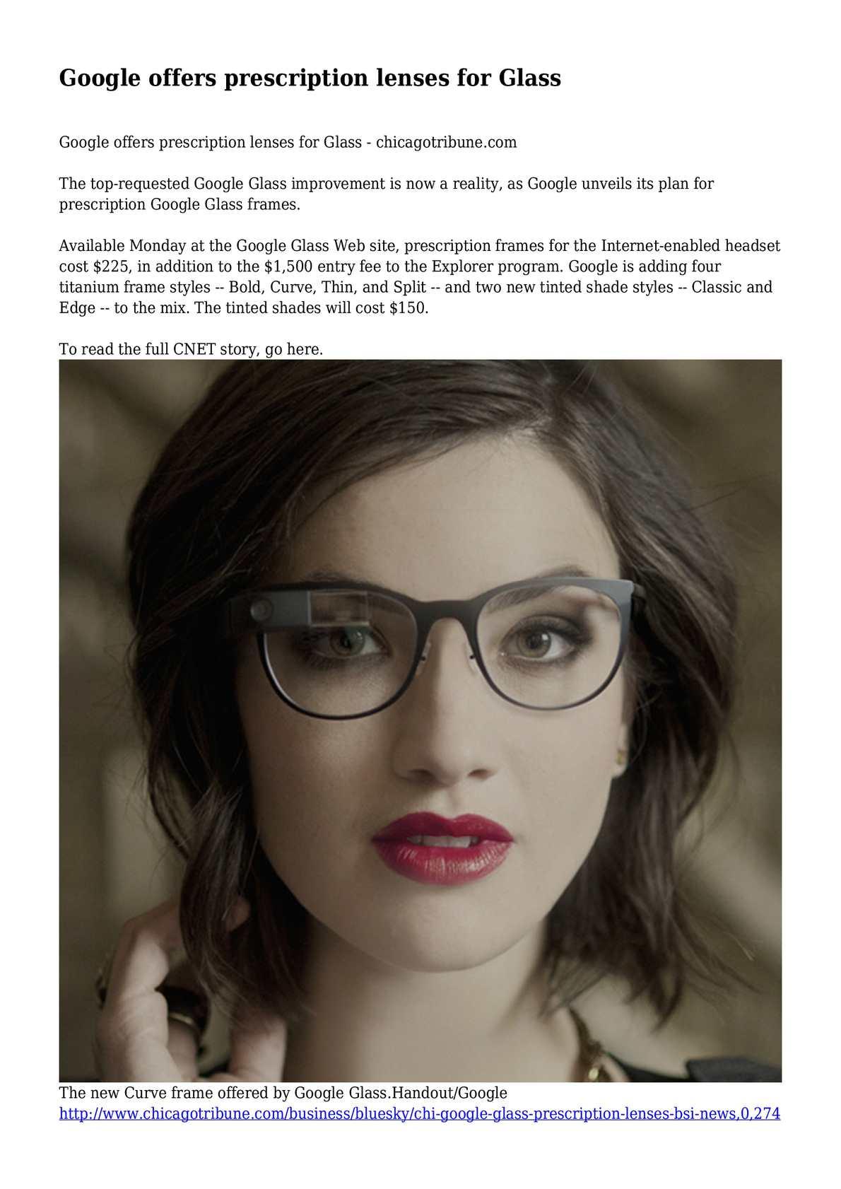 153702aebfb1 Calaméo - Google offers prescription lenses for Glass