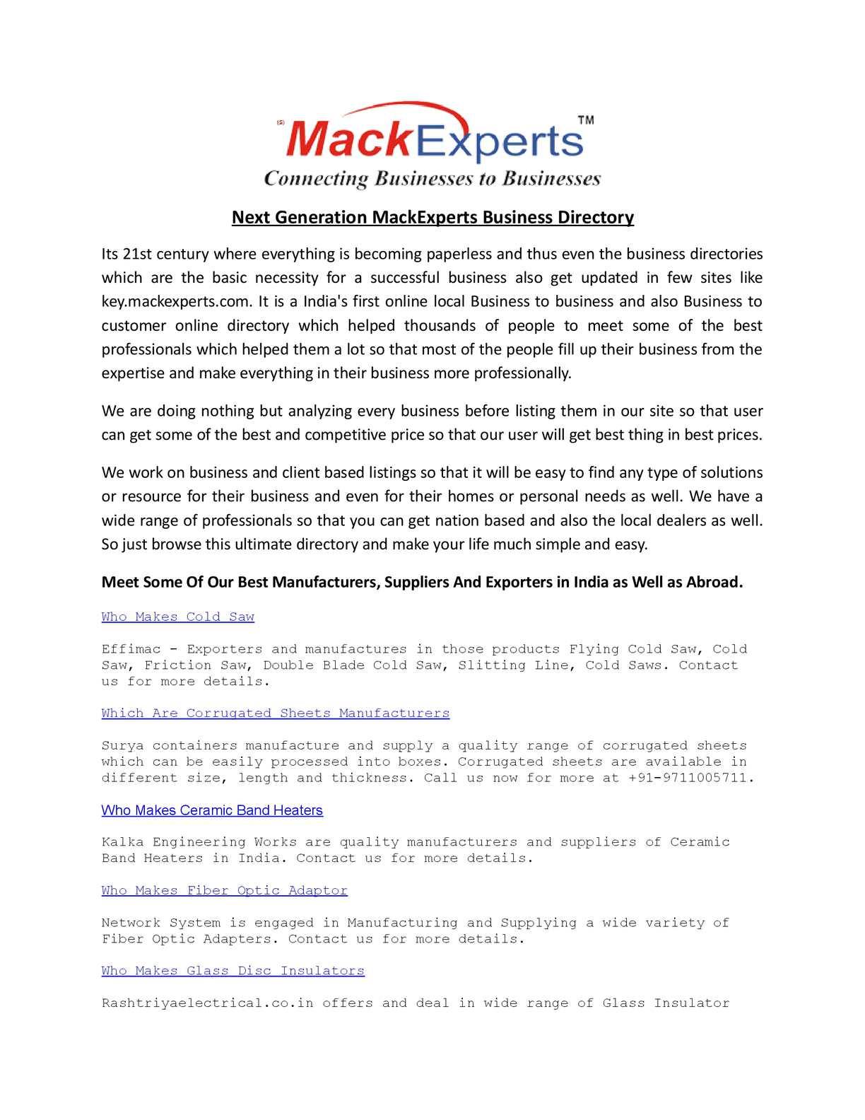 Calaméo - MackExperts com - Biggest B2B Portal of India