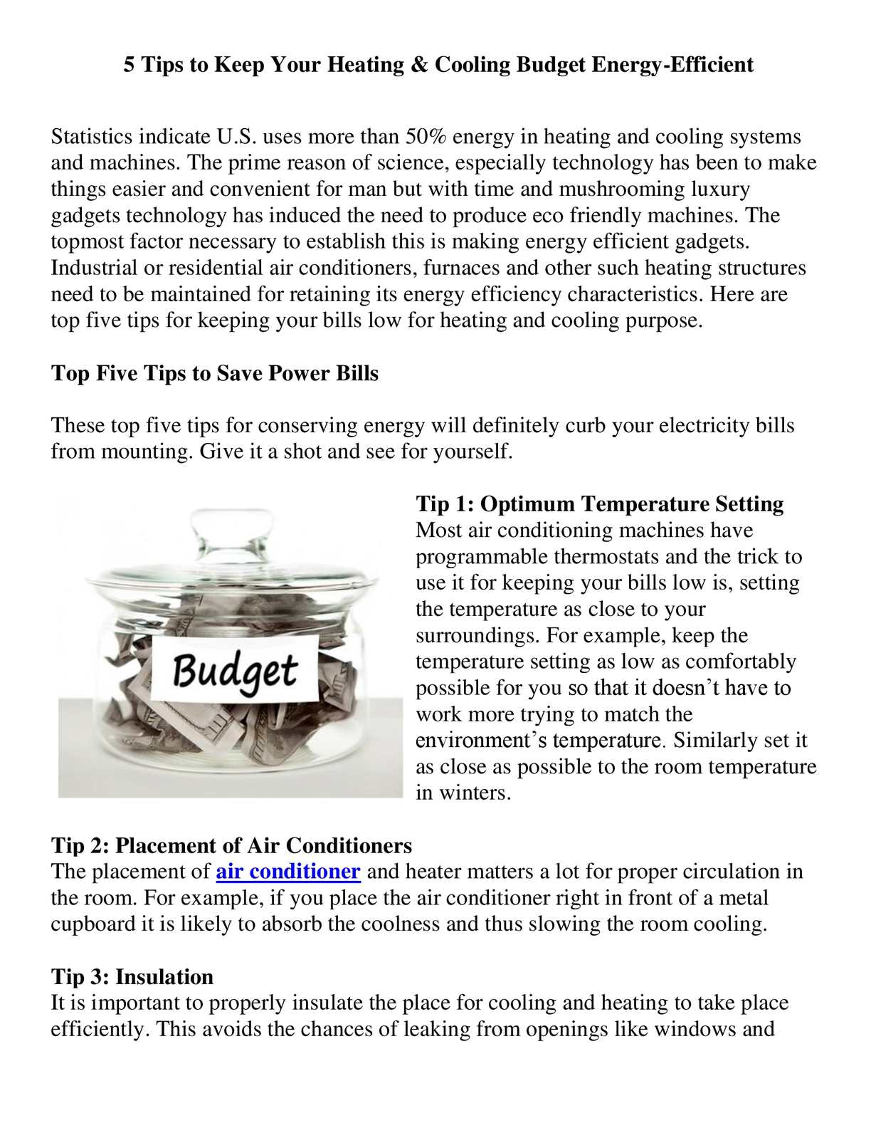 Calaméo - 5 Tips to Keep Your Heating & Cooling Budget
