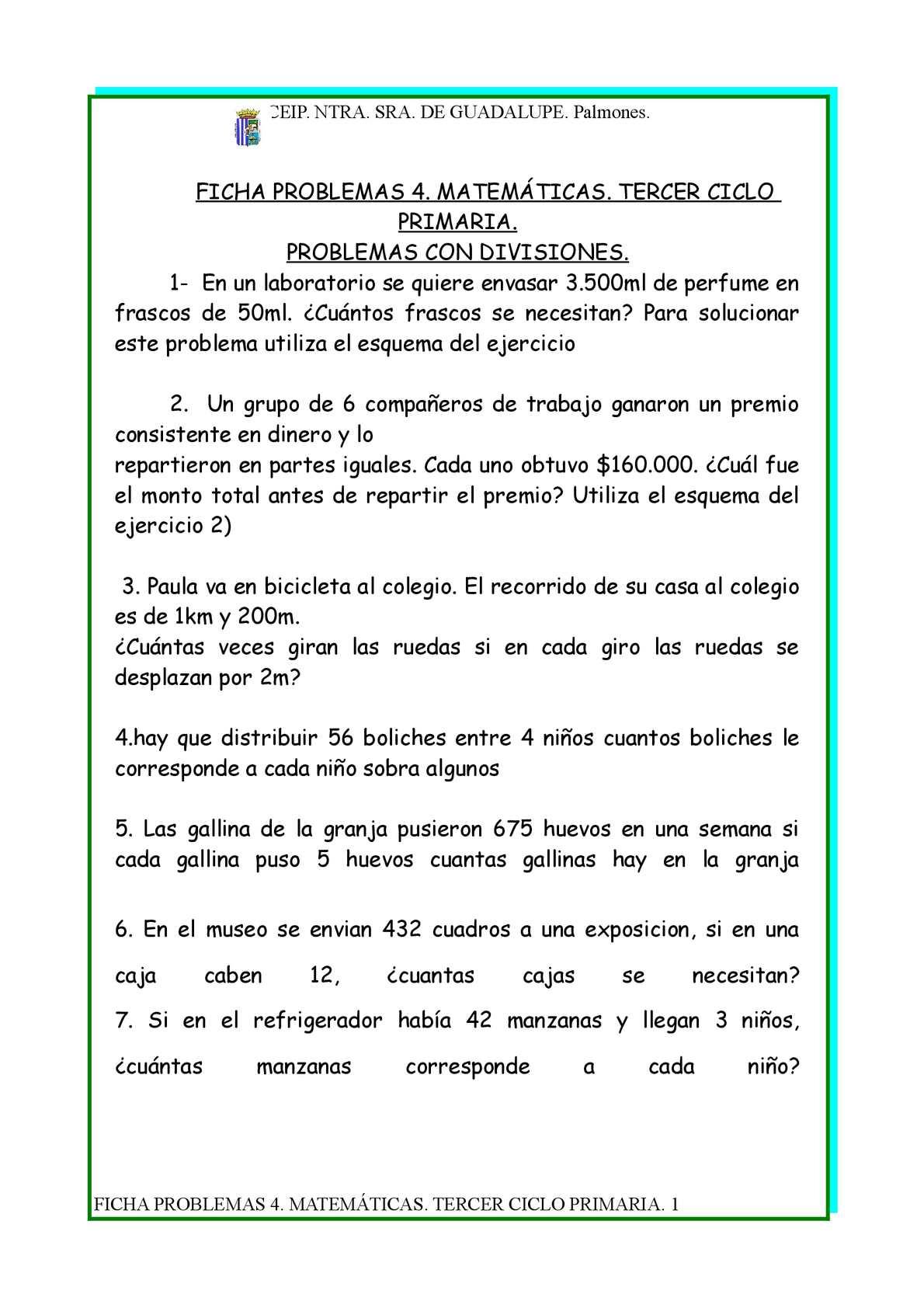 Calameo Fichas Problemas 4 Matematicas Tercer Ciclo Primaria Divisiones
