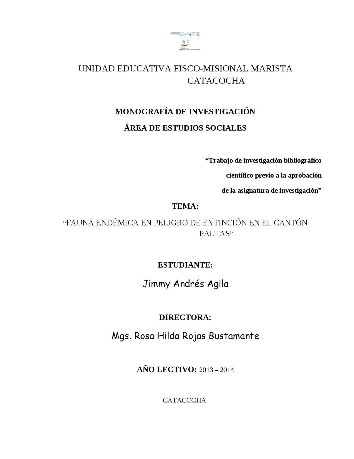 monografía sobre fauna endemica en el canton paltas