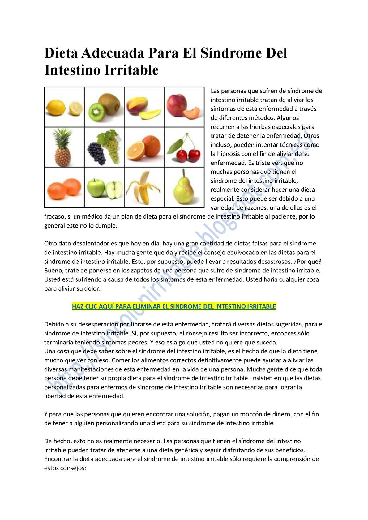 dieta para las personas con colon irritable