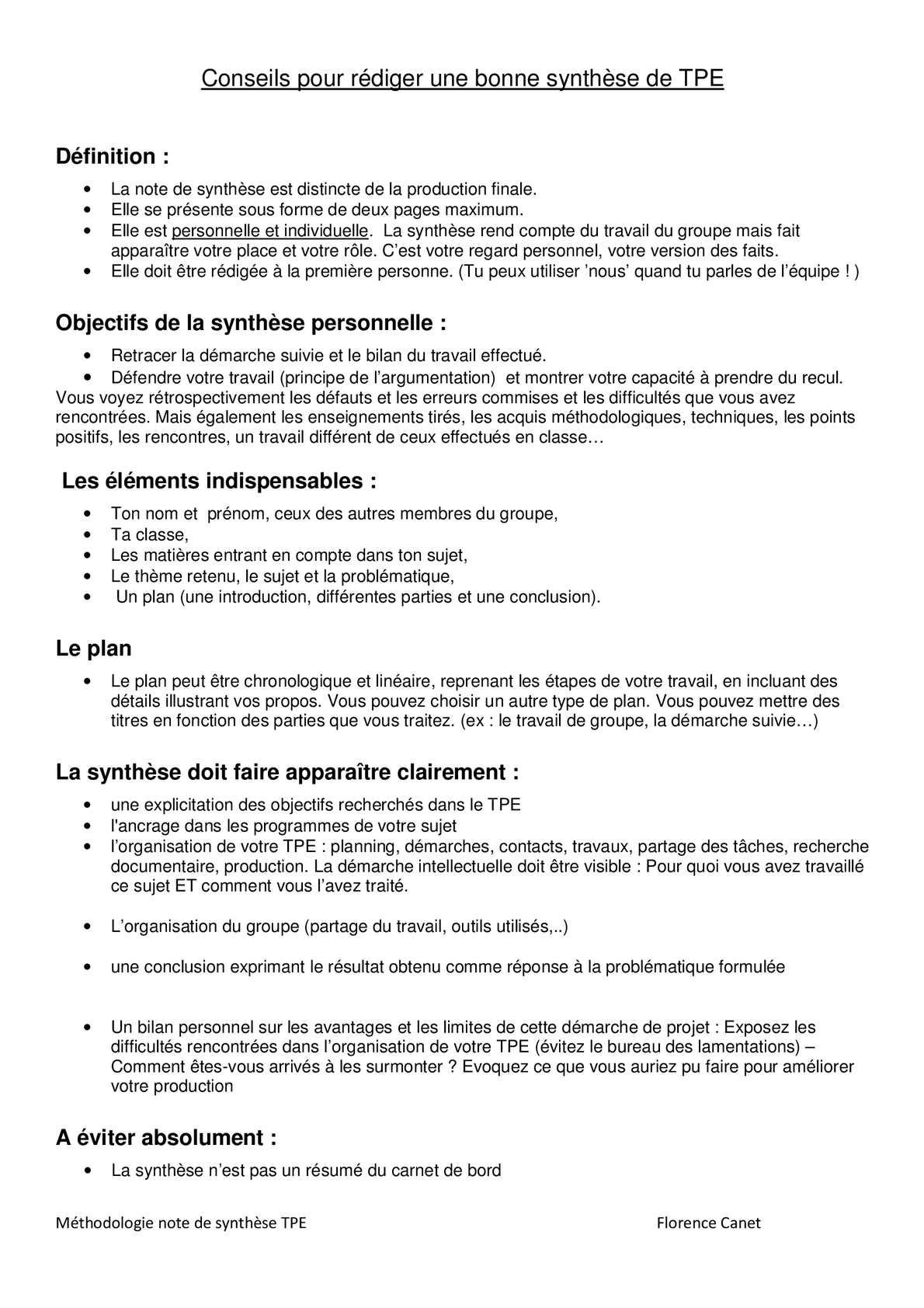 Calameo Conseils Pour Rediger Sa Synthese De Tpe