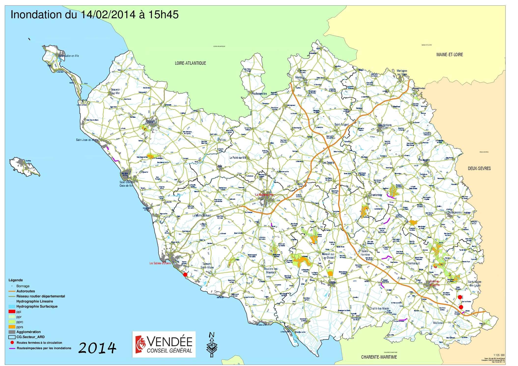 Carte Vendee Routiere.Calameo Inondations Carte Reseau Routier Vendee 13 02 2014