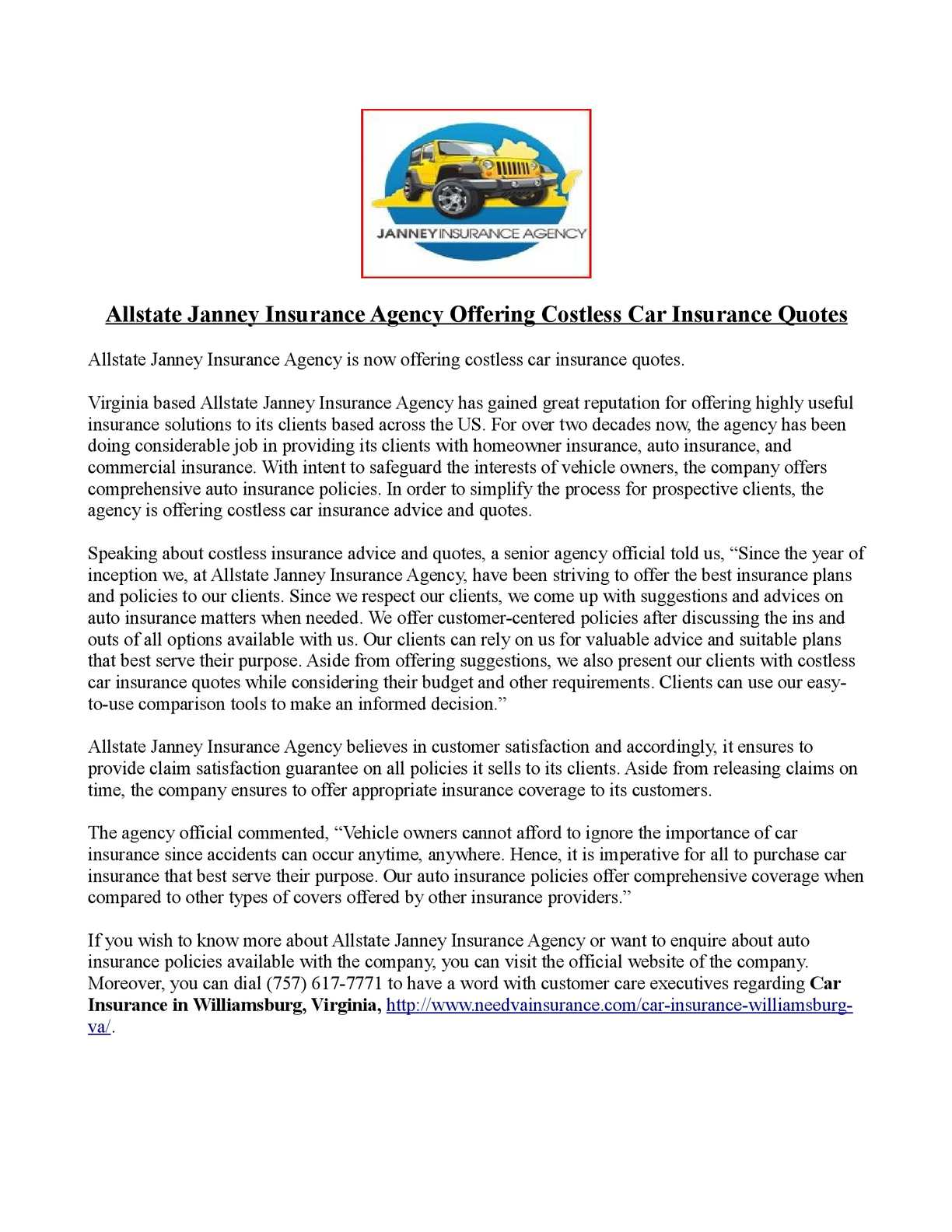 Allstate Customer Care >> Calameo Allstate Janney Insurance Agency Offering Costless