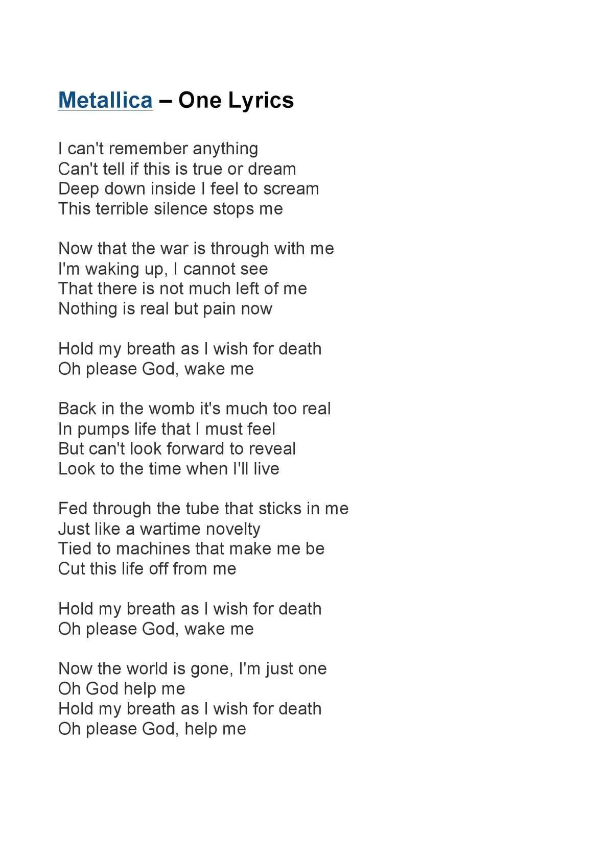 calaméo metallica one lyrics