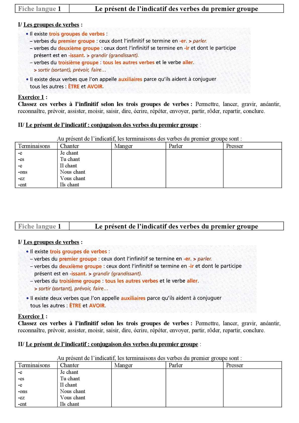 Calameo Fiche 1 Present 1er Gr