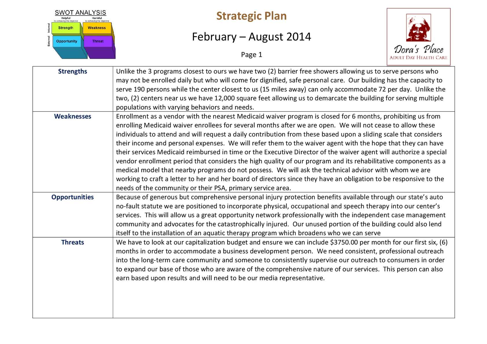Adult Day Care SWOT Analysis and Sample Initial Strategic Plan