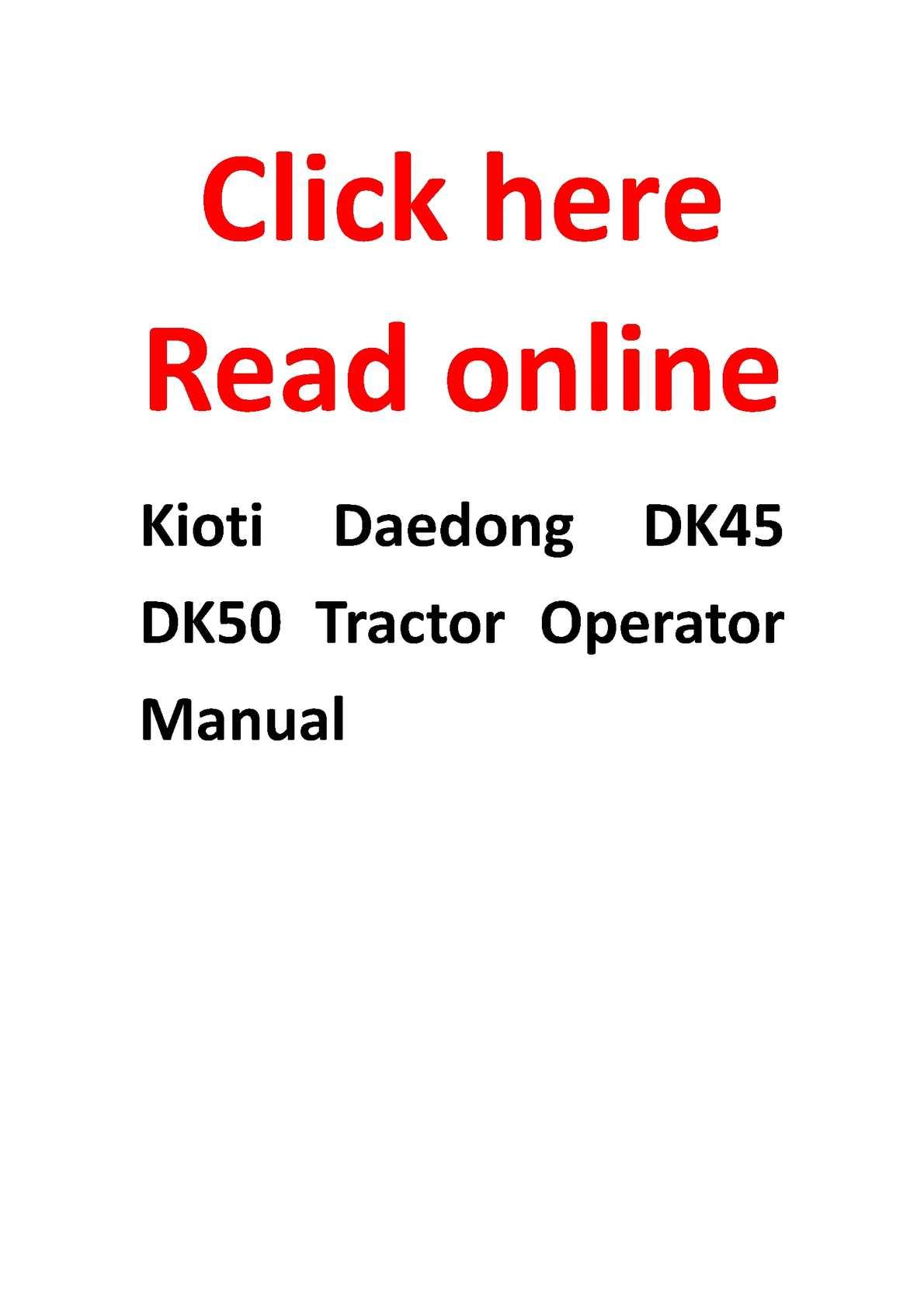 Calameo Kioti Daedong Dk45 Dk50 Tractor Operator Manual
