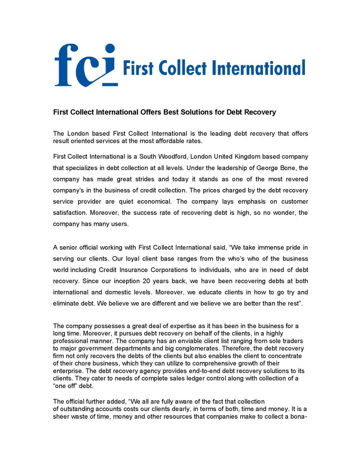 Calaméo - First Collect International Offers Best Solutions