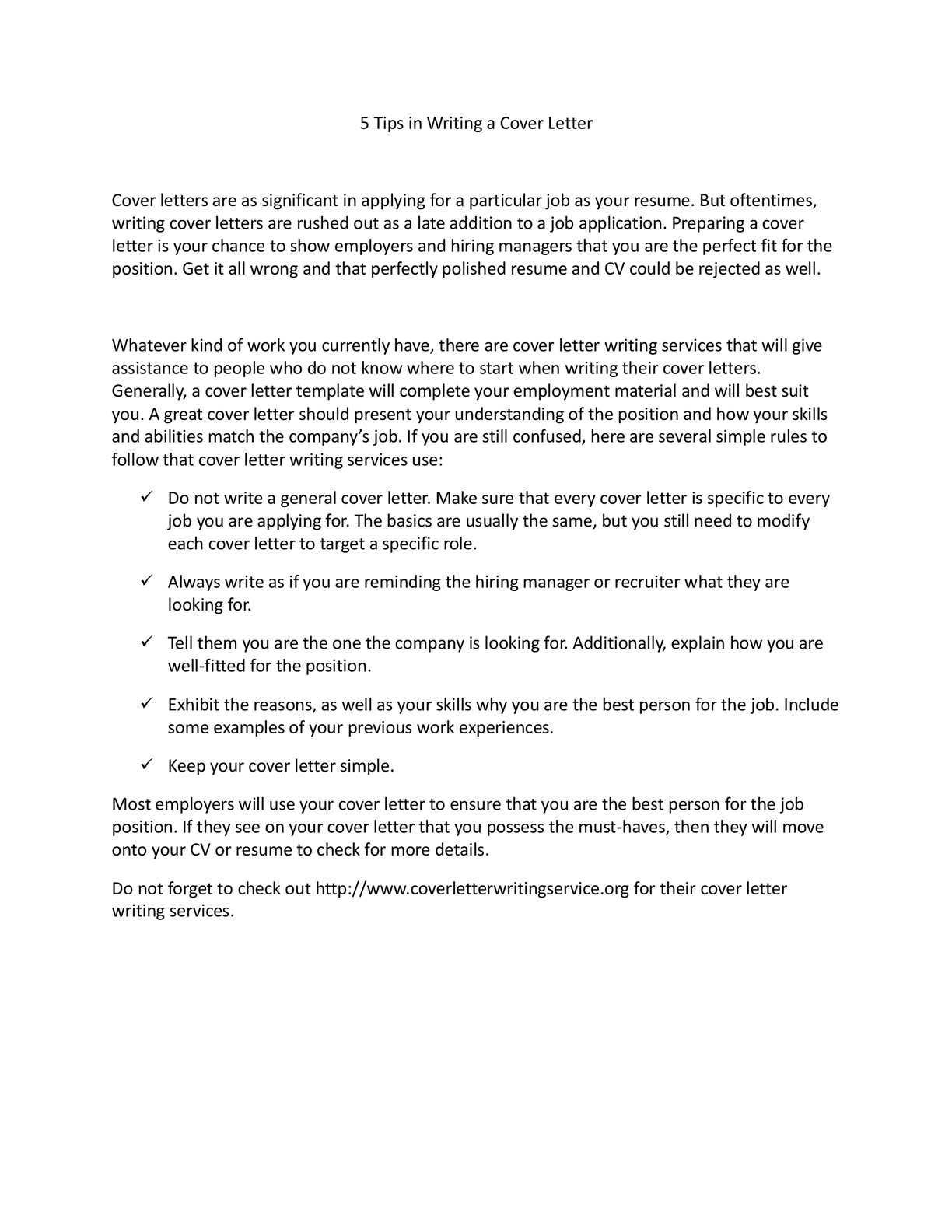 Calameo 5 Tips In Writing A Cover Letter