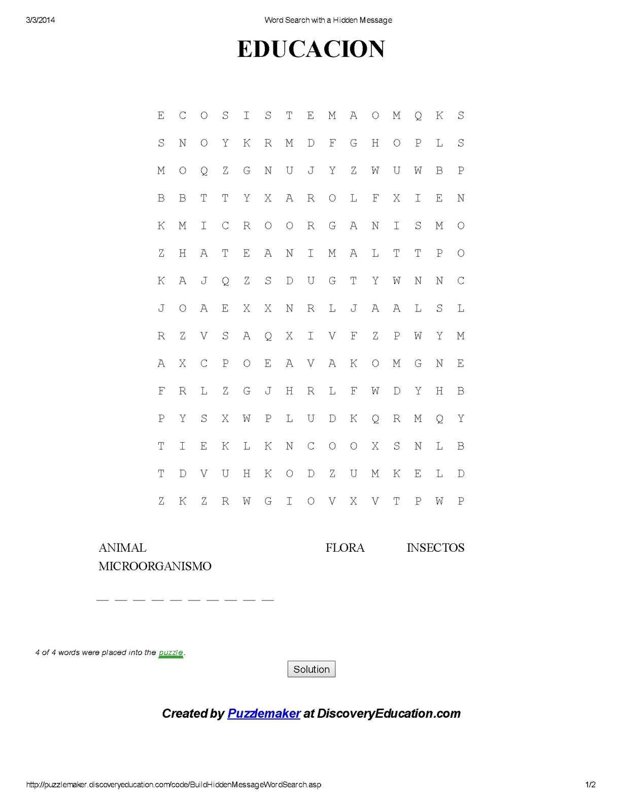 Calaméo - Word Search with a Hidden Message ( educacion)