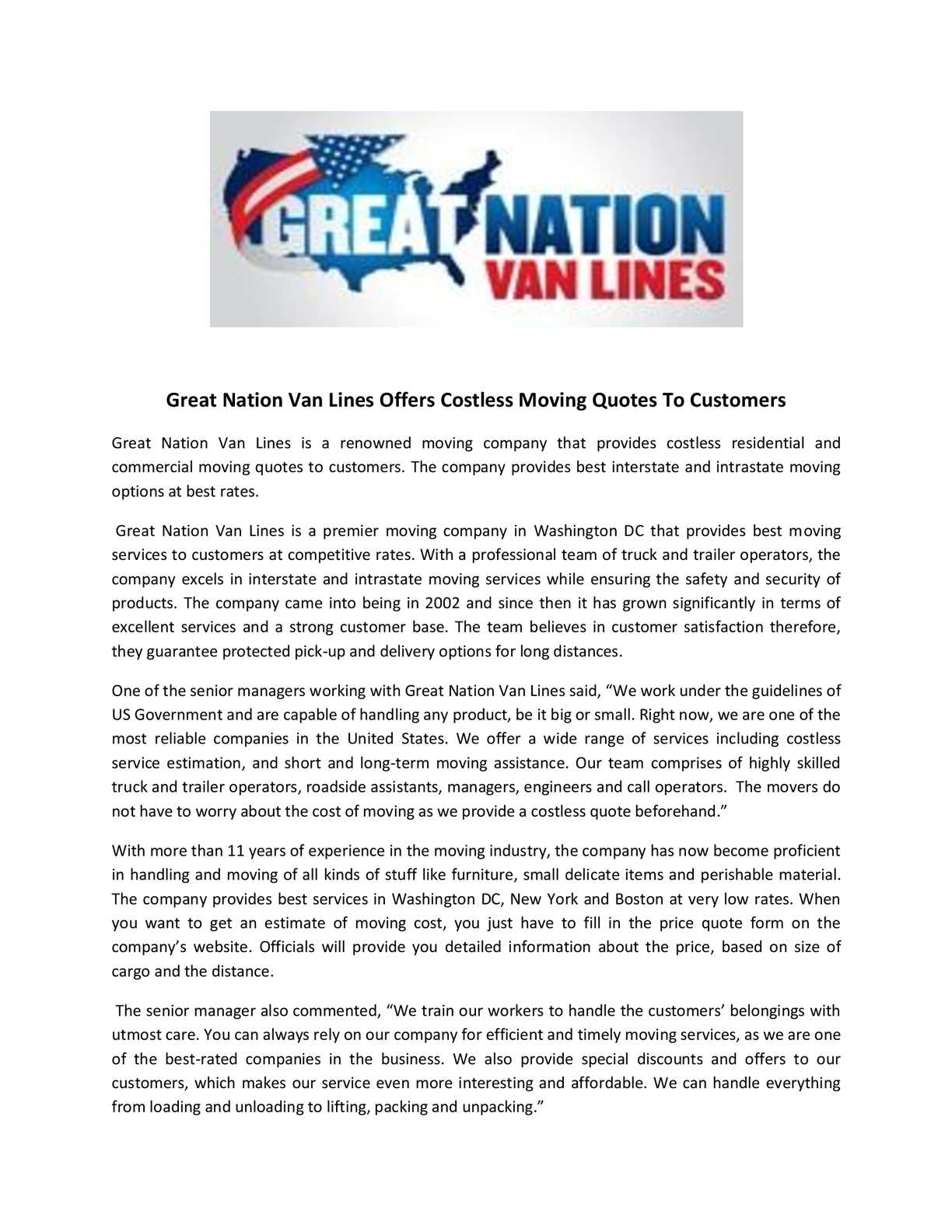 Moving Company Quotes >> Calameo Great Nation Van Lines Offers Costless Moving