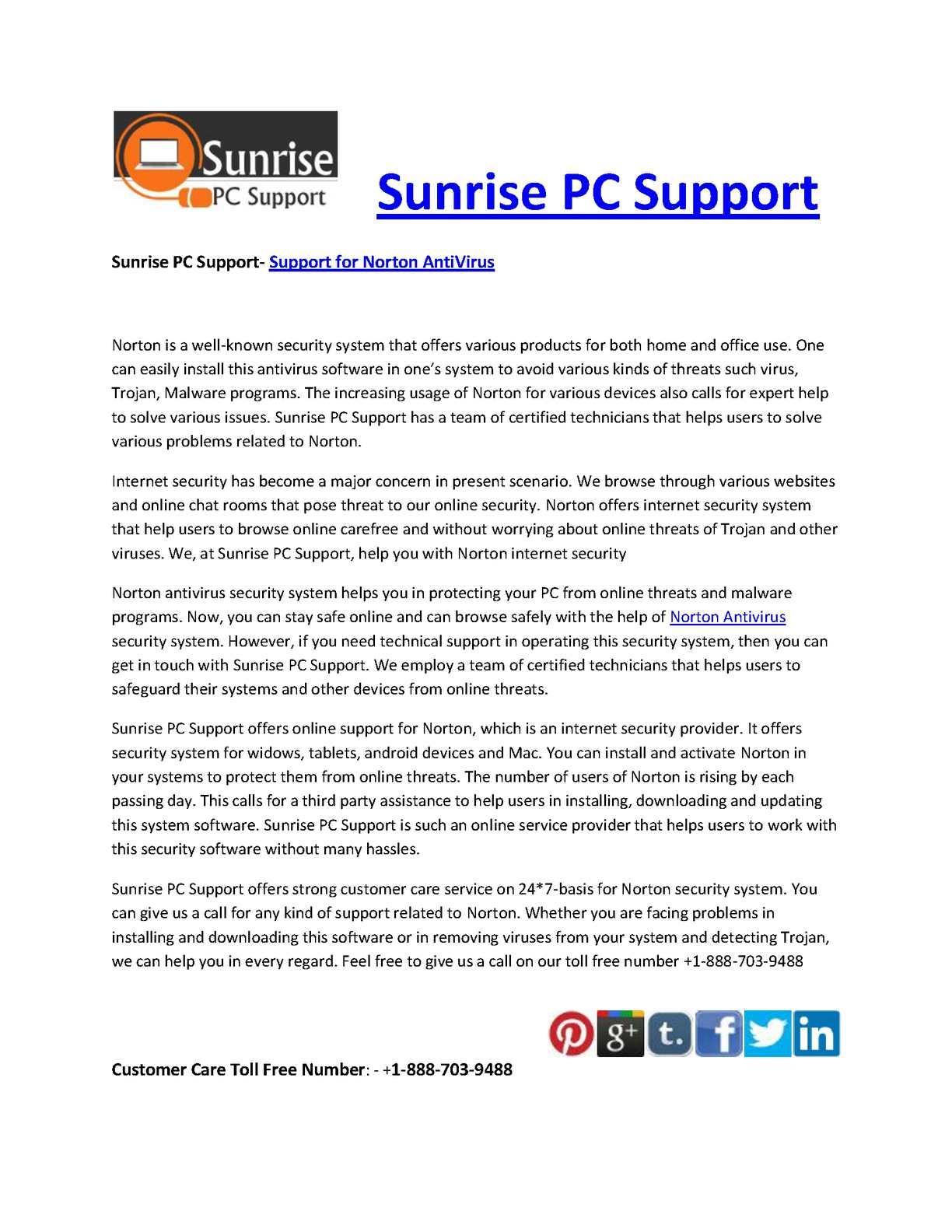 Calaméo - Sunrise PC Support- Support for Norton AntiVirus