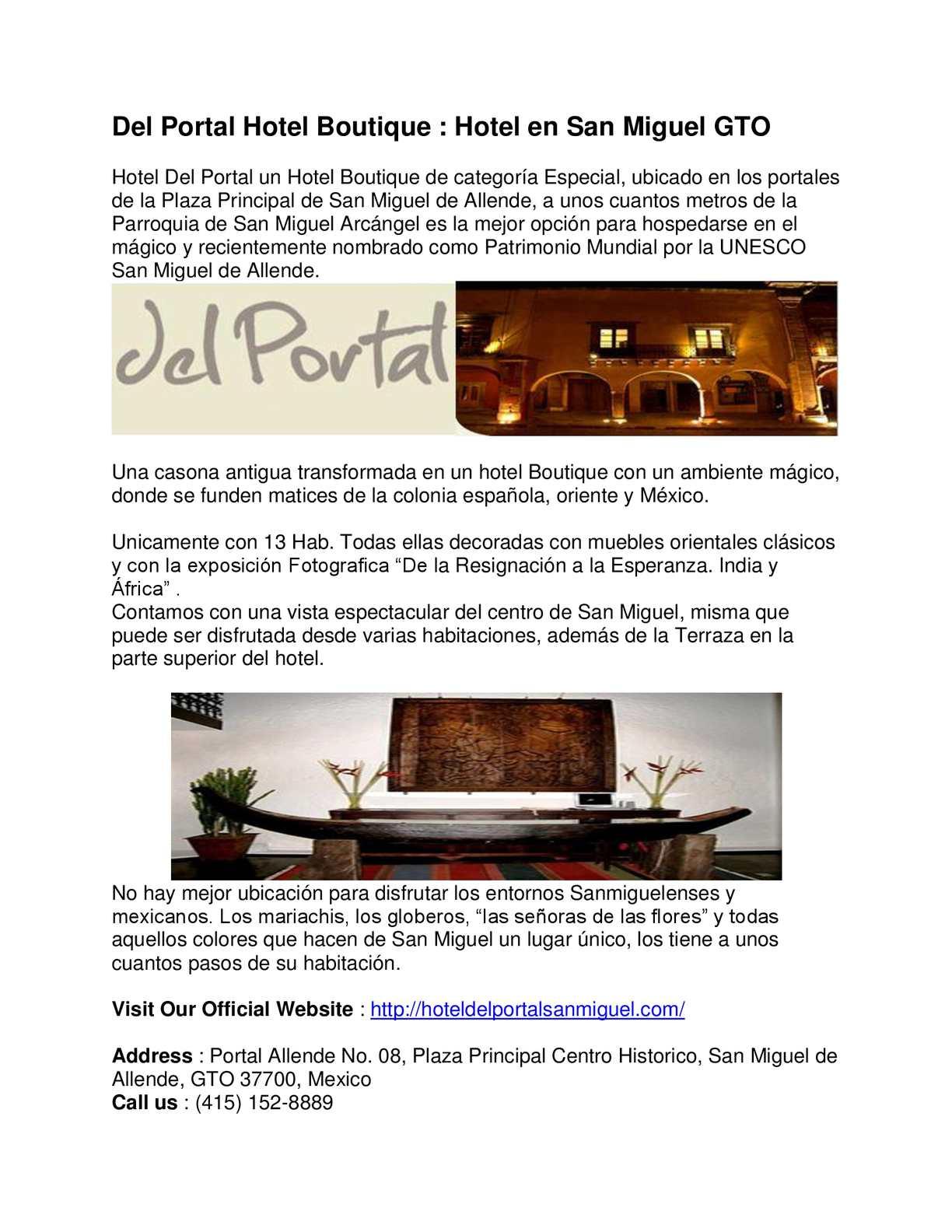 Calaméo Del Portal Hotel Boutique Hoteles Economicos San