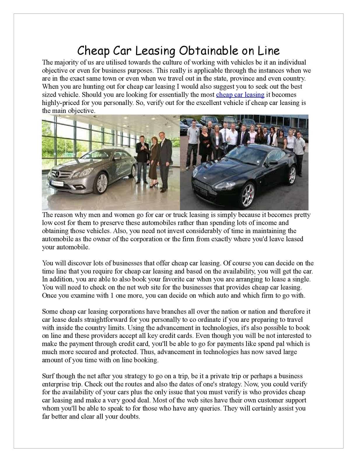Calameo Cheap Car Leasing Obtainable On Line