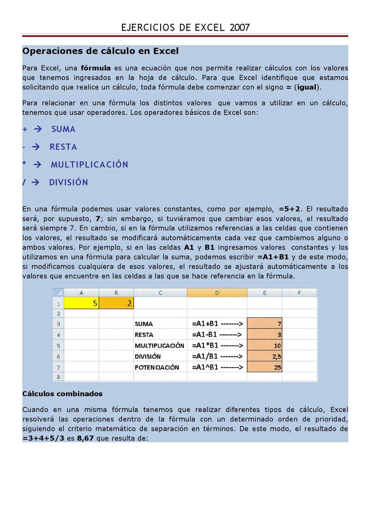 Calaméo   Operaciones de Cálculo en Excel