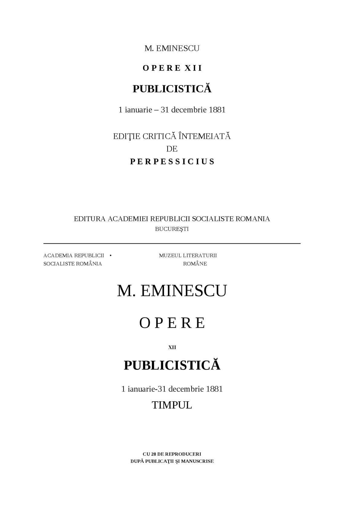 Calaméo - Mihai Eminescu, Opere XII