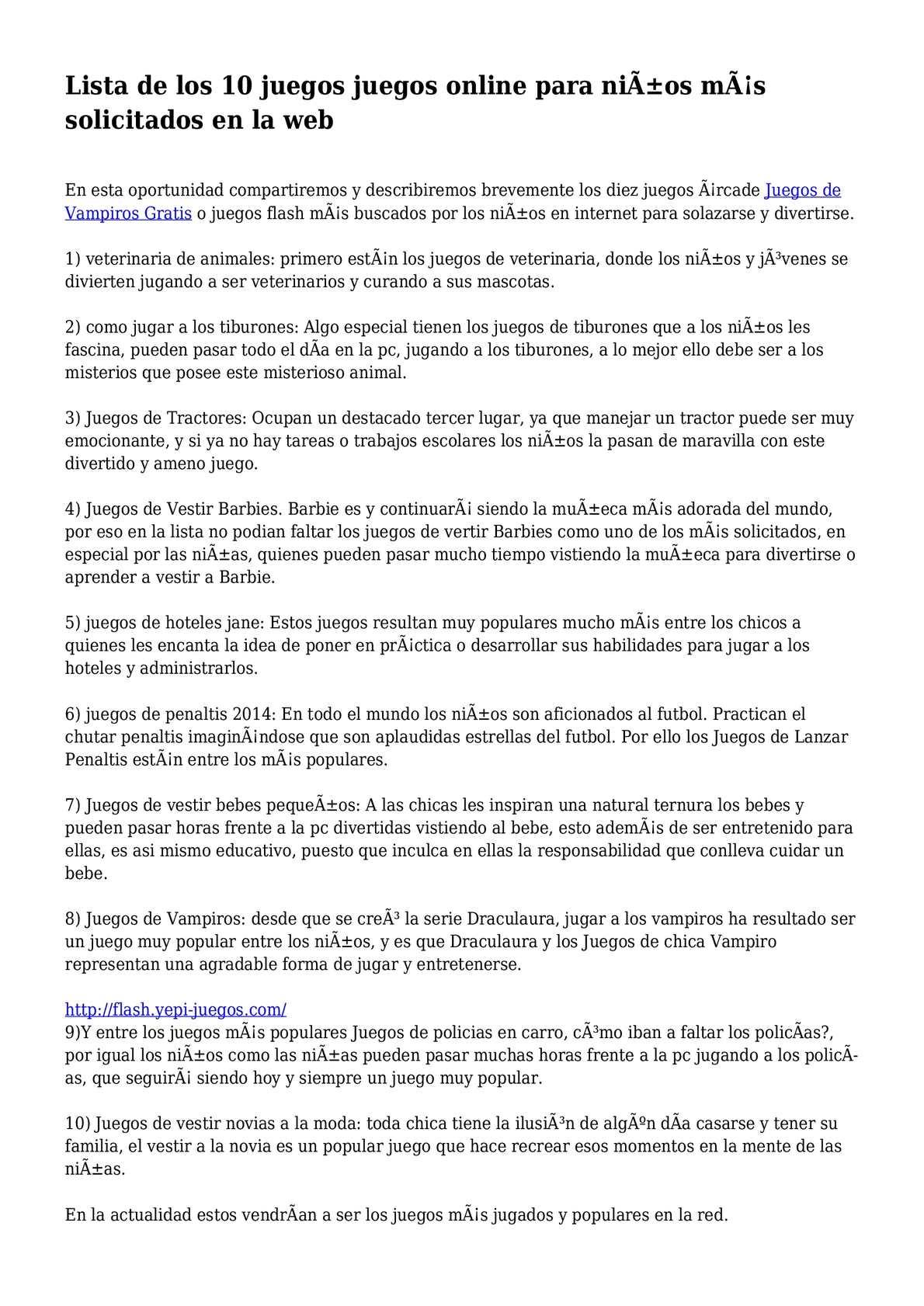 Calameo Lista De Los 10 Juegos Juegos Online Para Ninos Mas