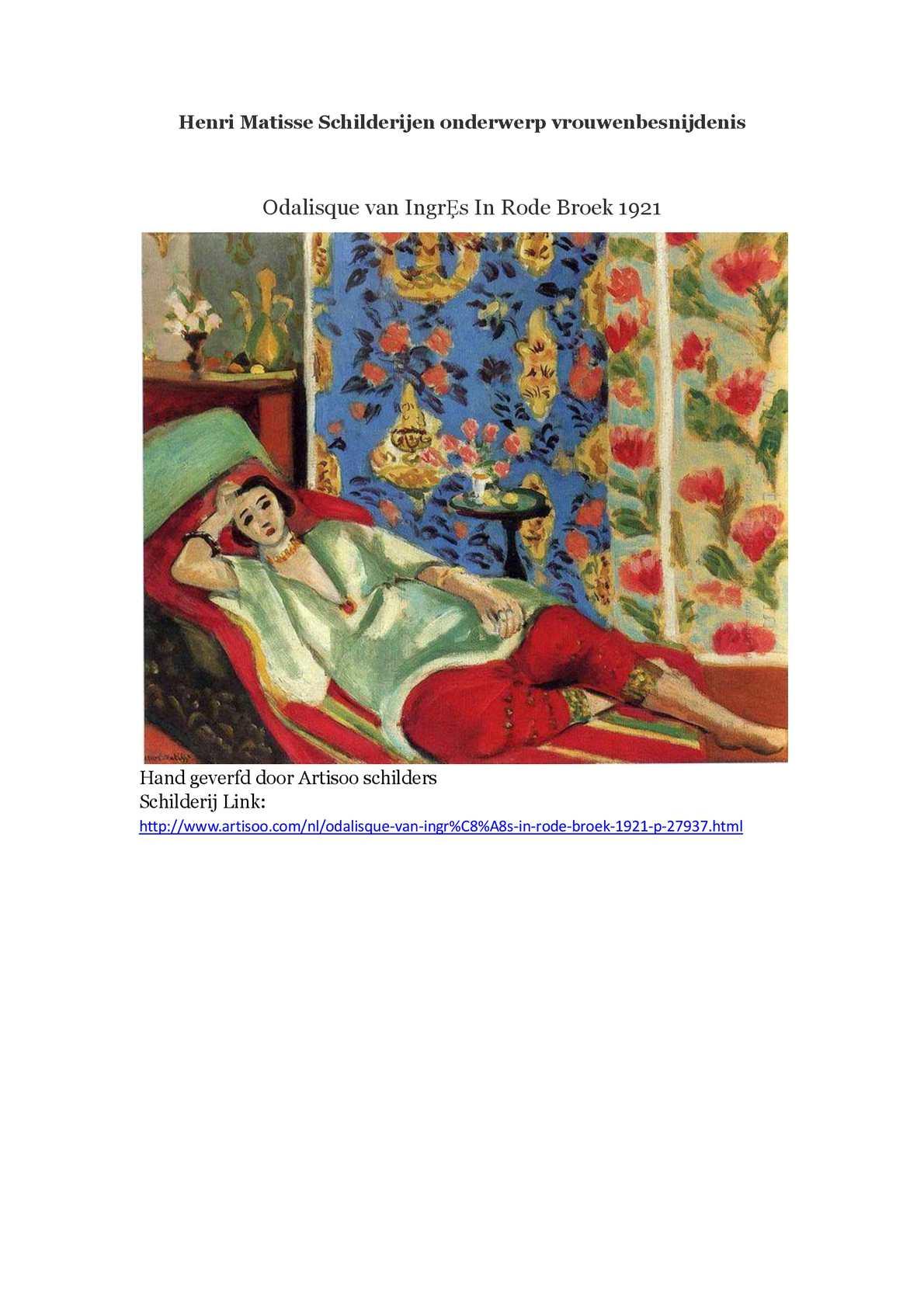 Wonderbaarlijk Calaméo - Henri Matisse Schilderijen onderwerp vrouwenbesnijdenis CY-65