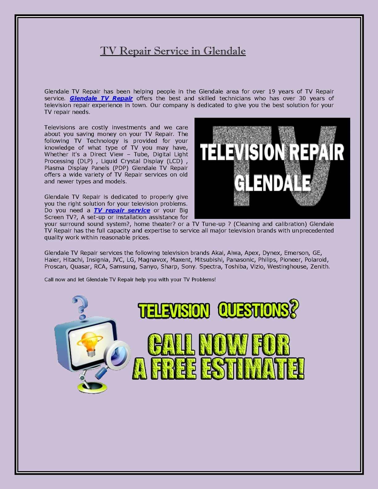 Calaméo - TV Repair Service in Glendale
