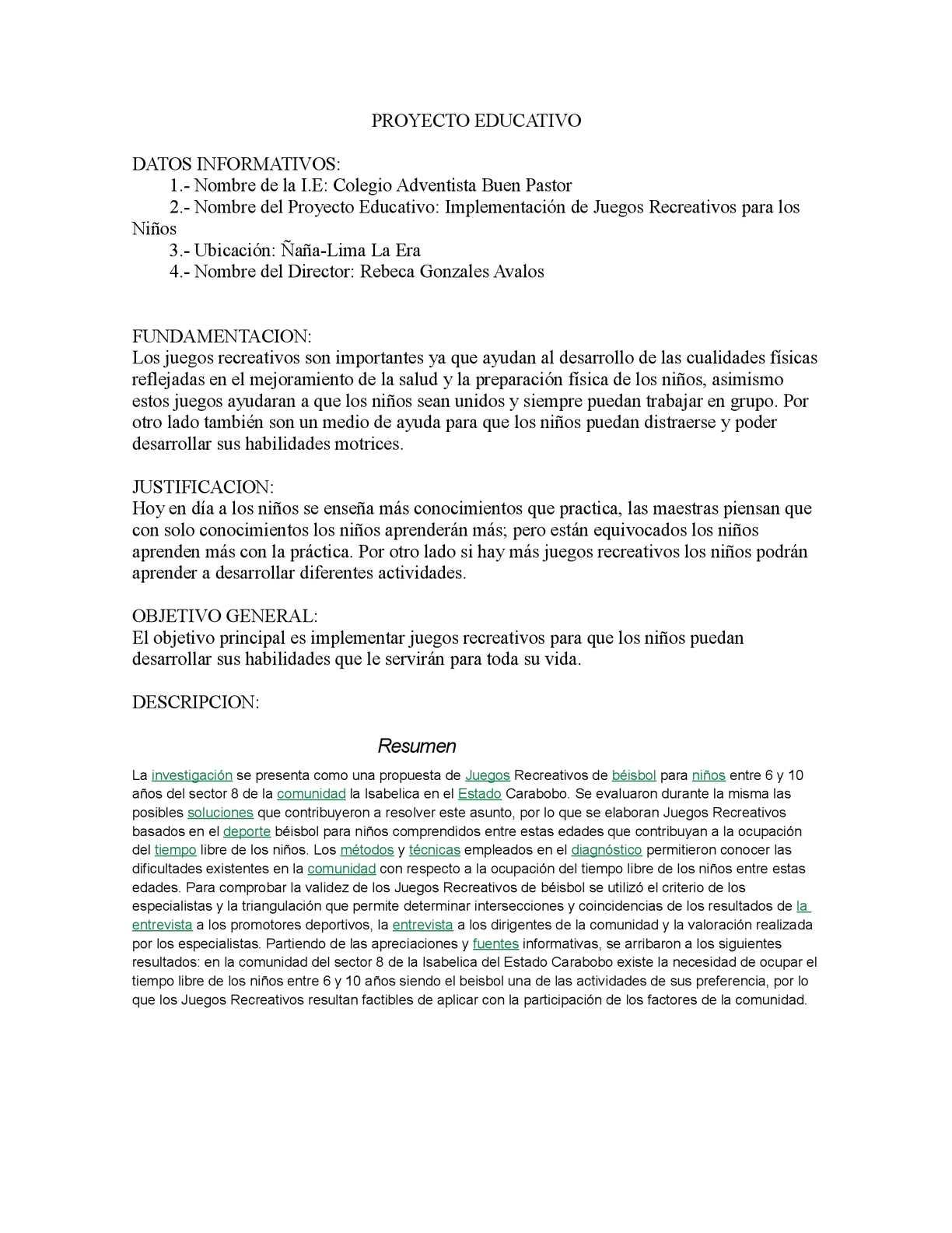 Calameo Proyecto Educativo Implementacion De Juegos Recreativos