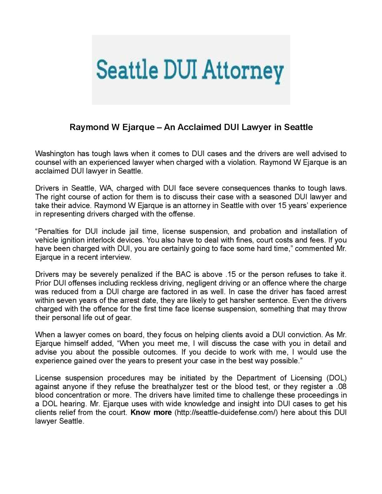 Calaméo - Raymond W Ejarque – An Acclaimed DUI Lawyer in Seattle