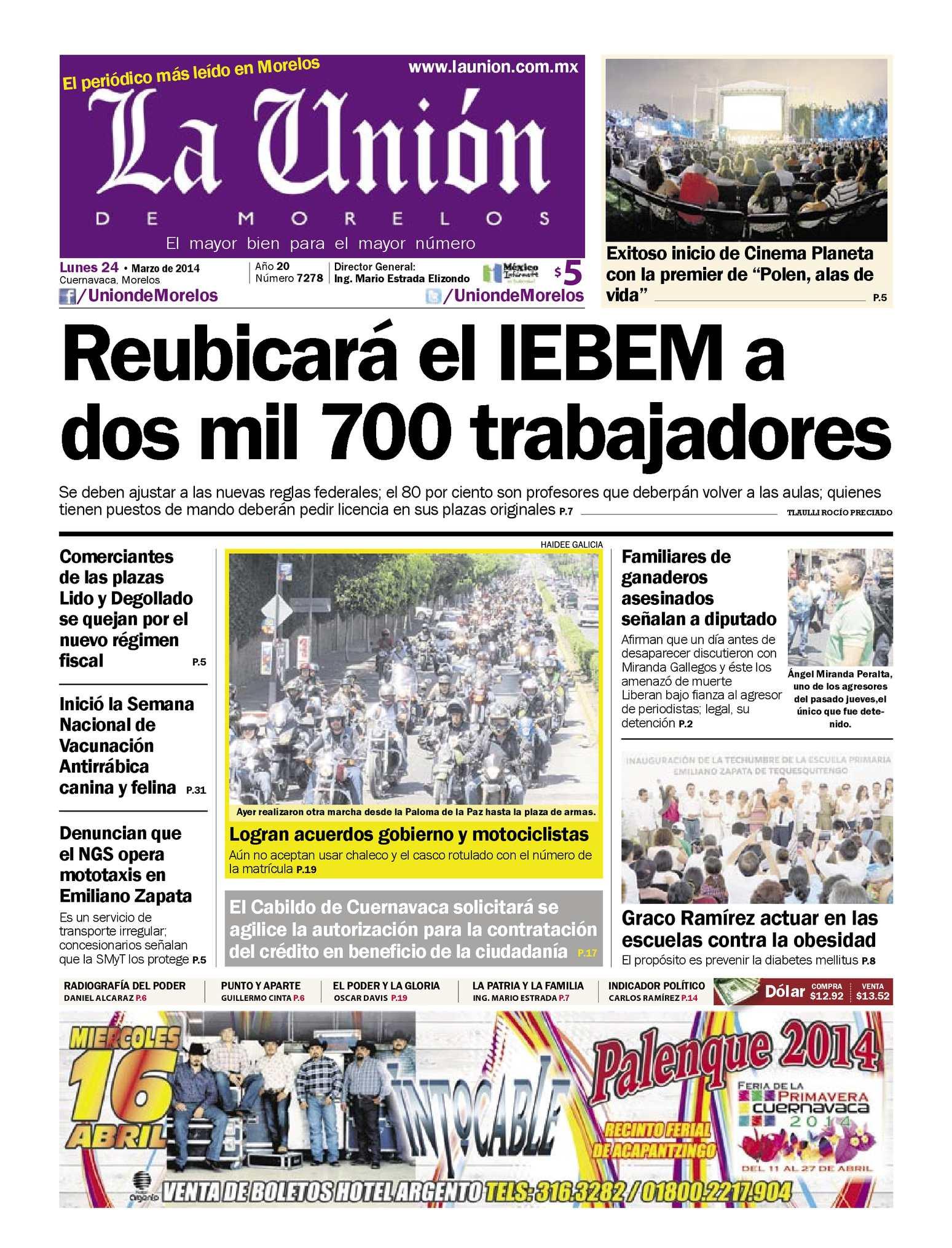 9df729daa0bad Calaméo - La Unión de Morelos 24 Marzo 2014