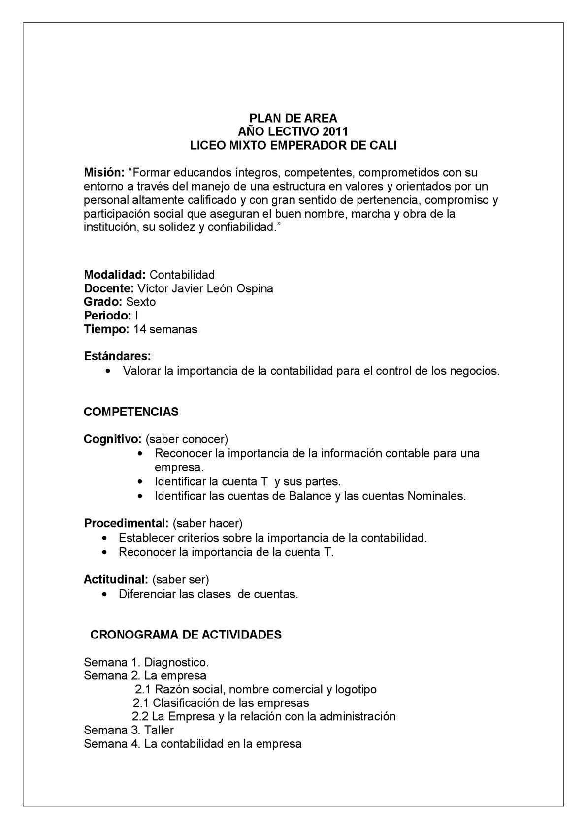 Plan De Area Contable Calameo Downloader