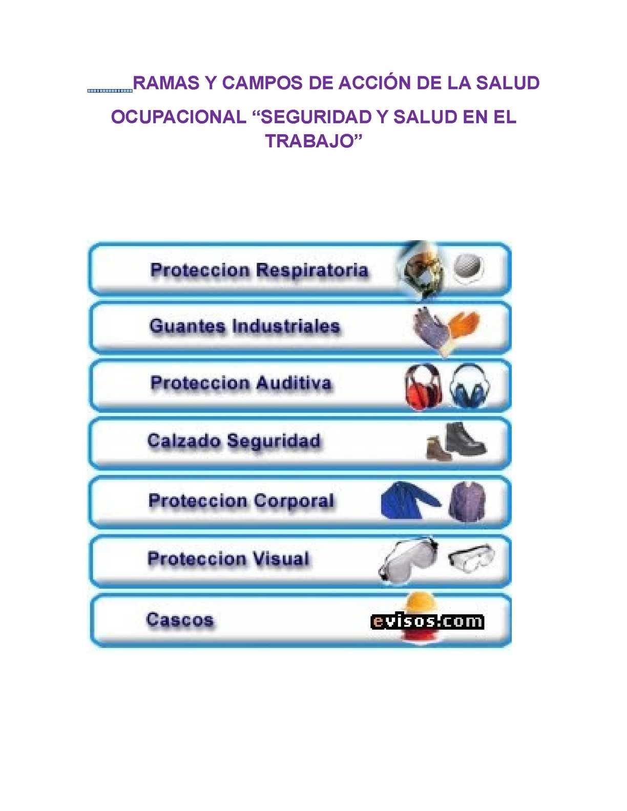 Calaméo Ramas Y Campos De La Salud Ocupacional Seguridad Y Salud En El Trabajo