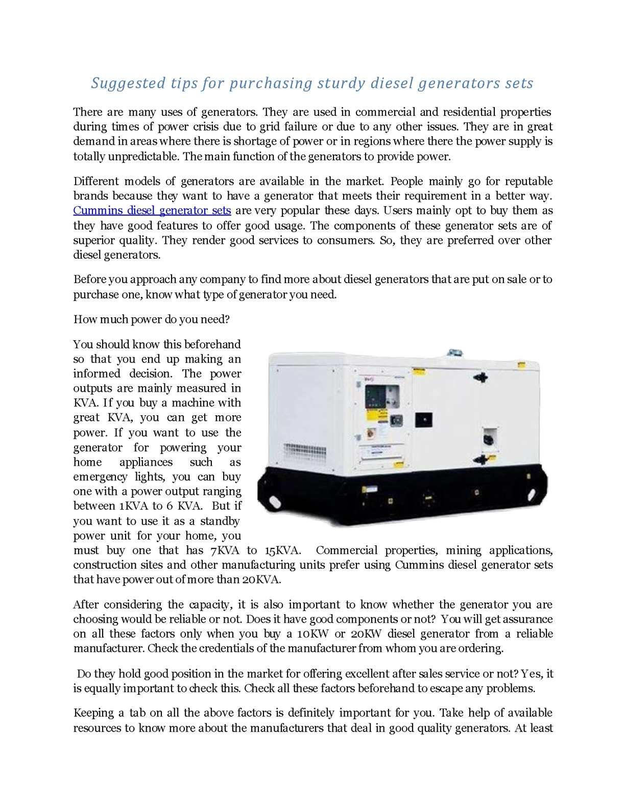 Calaméo - Suggested tips for purchasing sturdy diesel generators sets