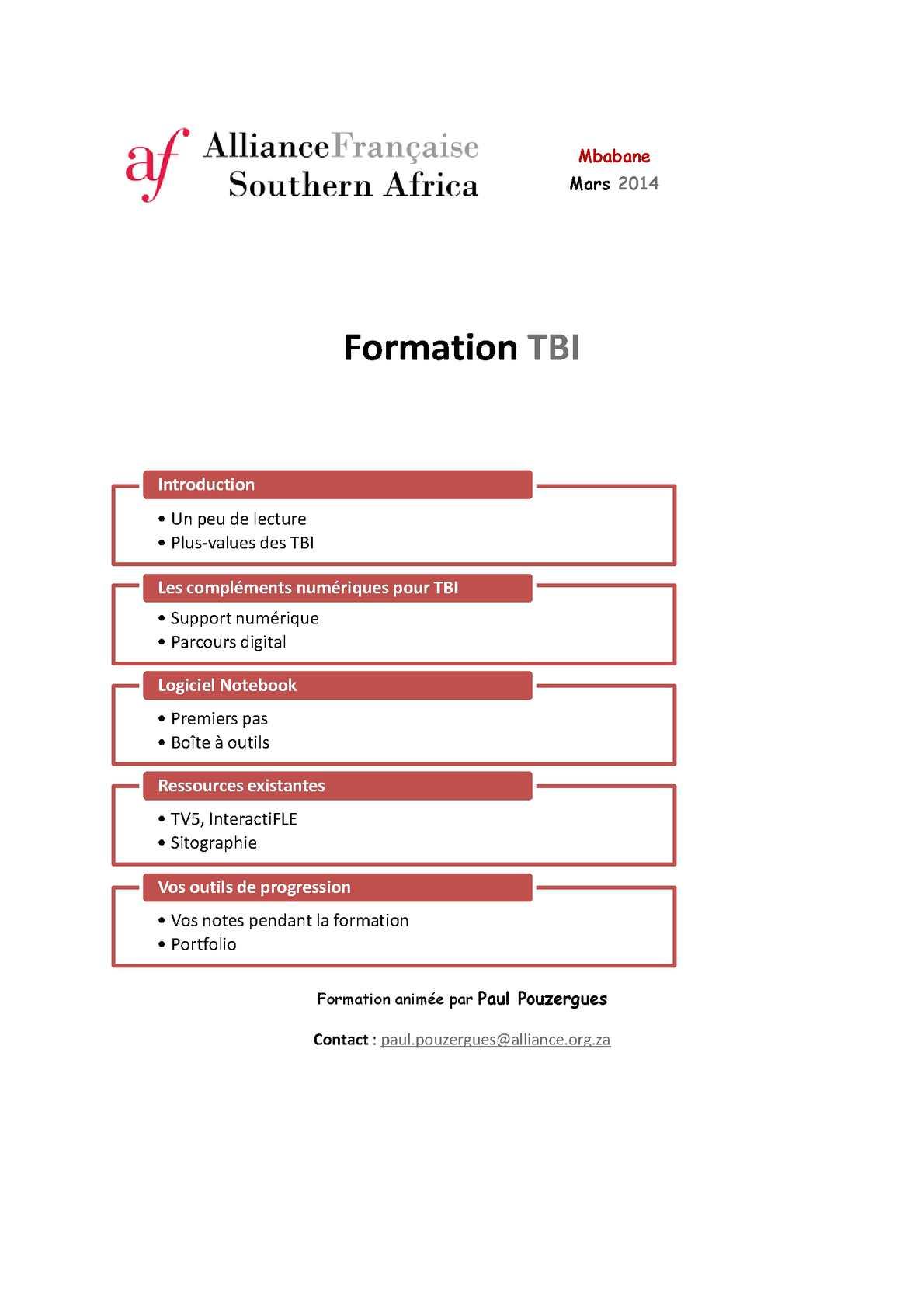Formation TBI 2014