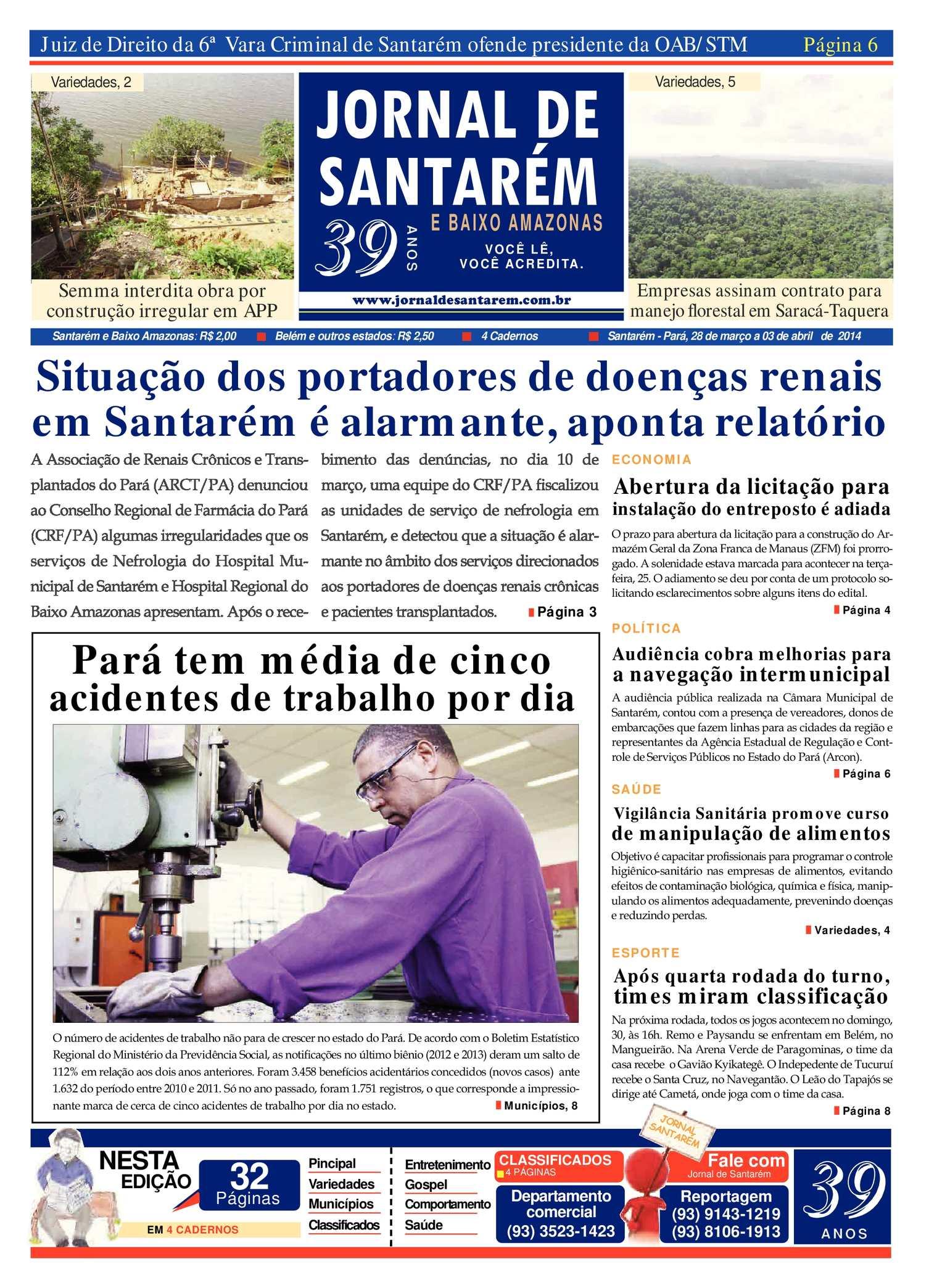 0bb5a7739e5d2 Calaméo - JORNAL DE SANTARÉM E BAIXO AMAZONAS EDIÇÃO DE 28 DE MARÇO A 03 DE  ABRIL 2014