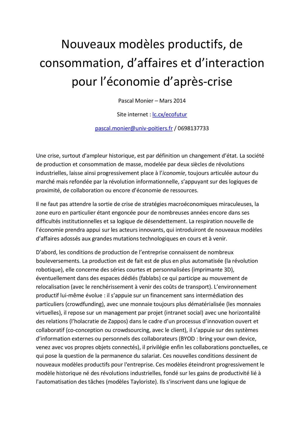 Calameo Nouvelle Economie Texte De Presentation