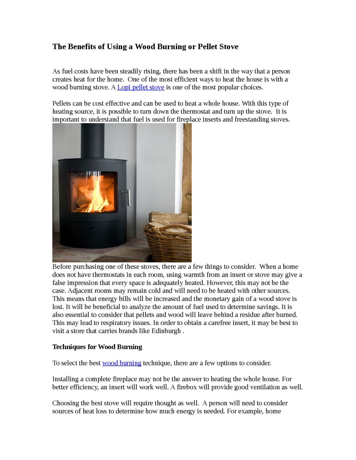 Calameo The Benefits Of Using A Wood Burning Or Pellet Stove