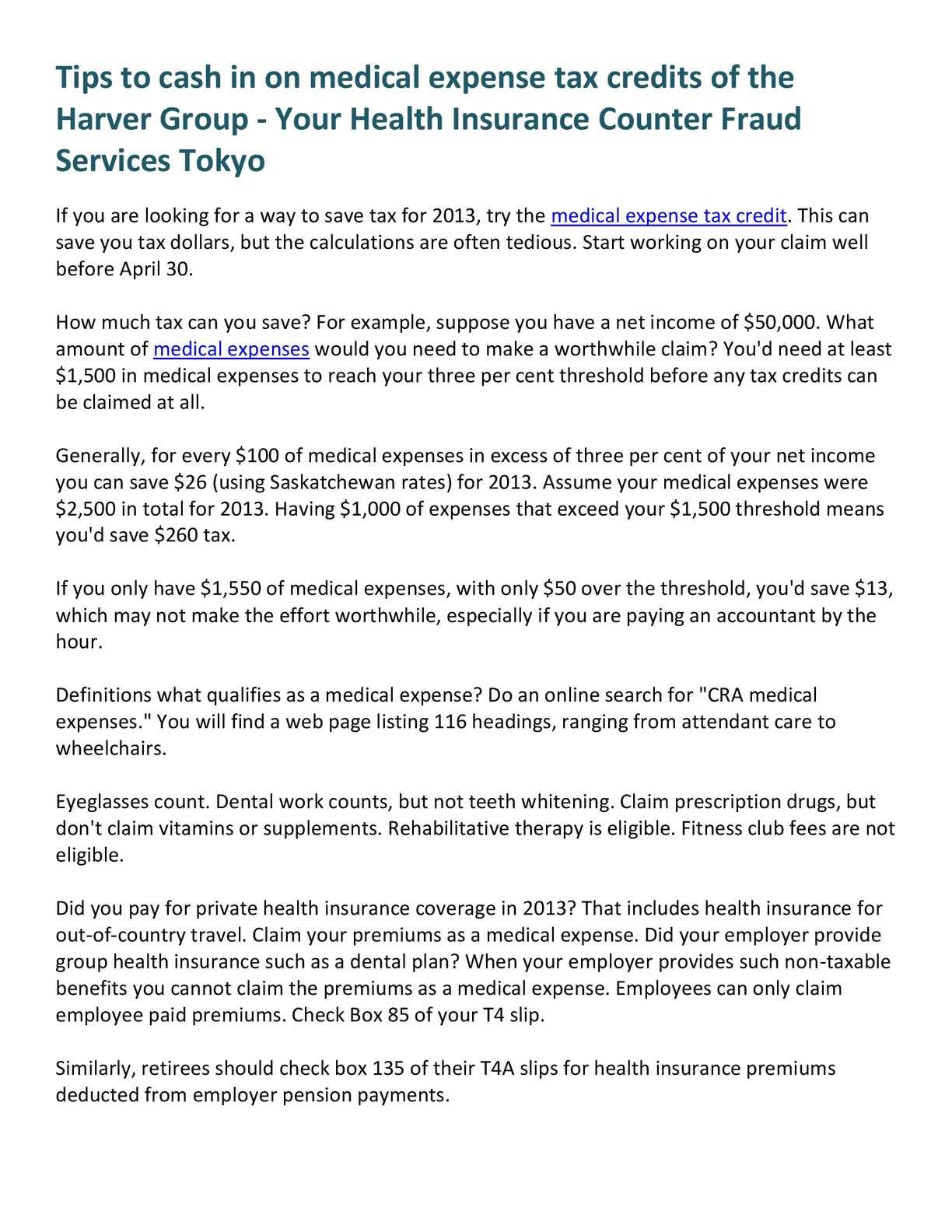 Employee Paid Health Insurance Premiums Tax Deductible ...