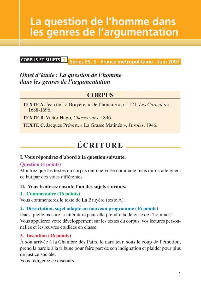Français Première ES