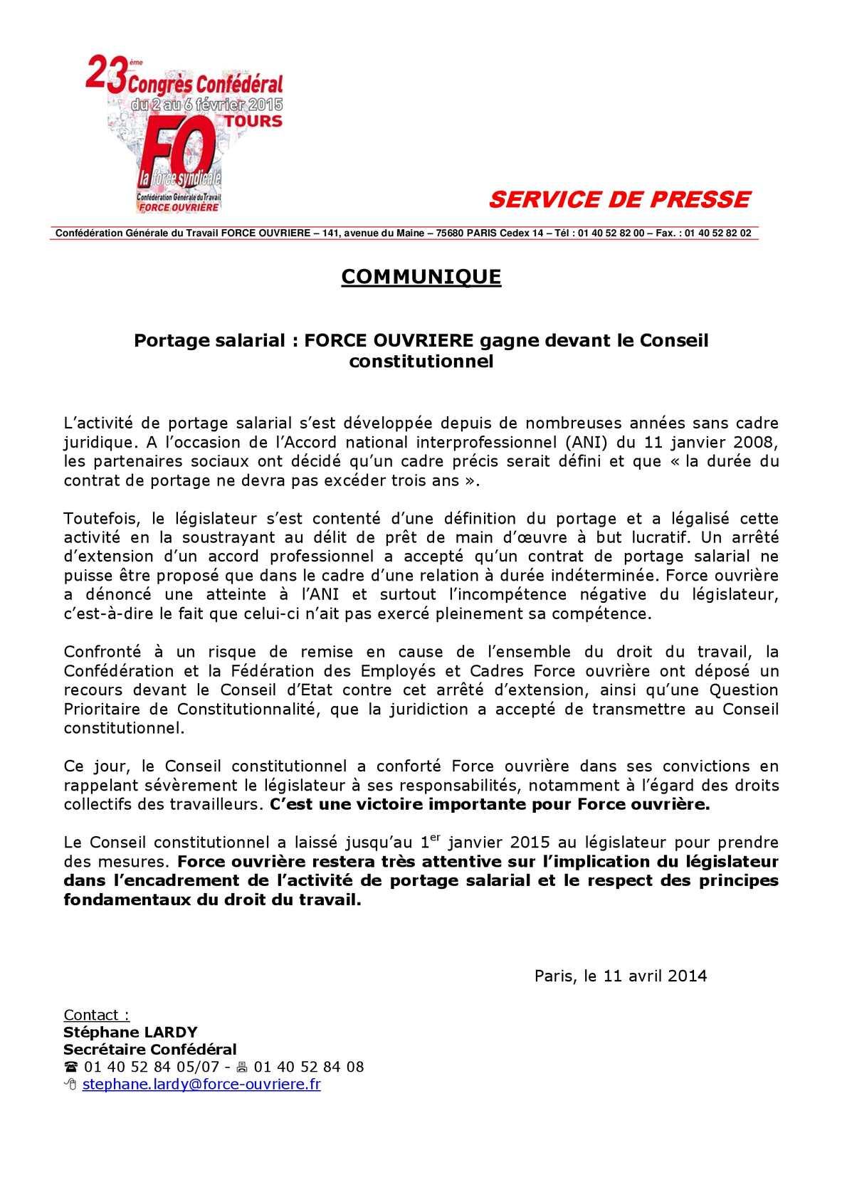 9e4f1a53a14 Calaméo - Portage salarial   FORCE OUVRIERE gagne devant le Conseil  constitutionnel
