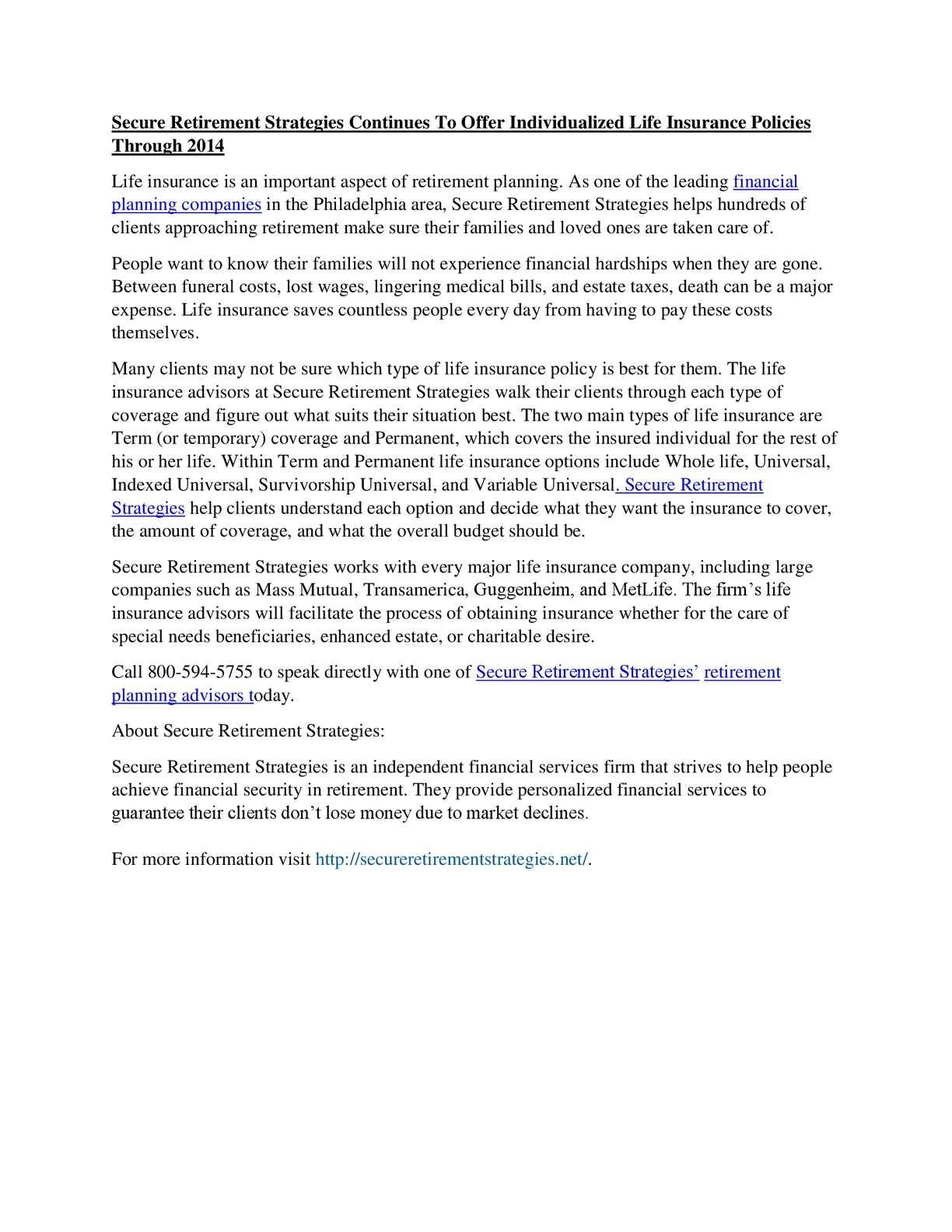 Top Ten Life Insurance Companies >> Calameo Retirement Planning Advisors