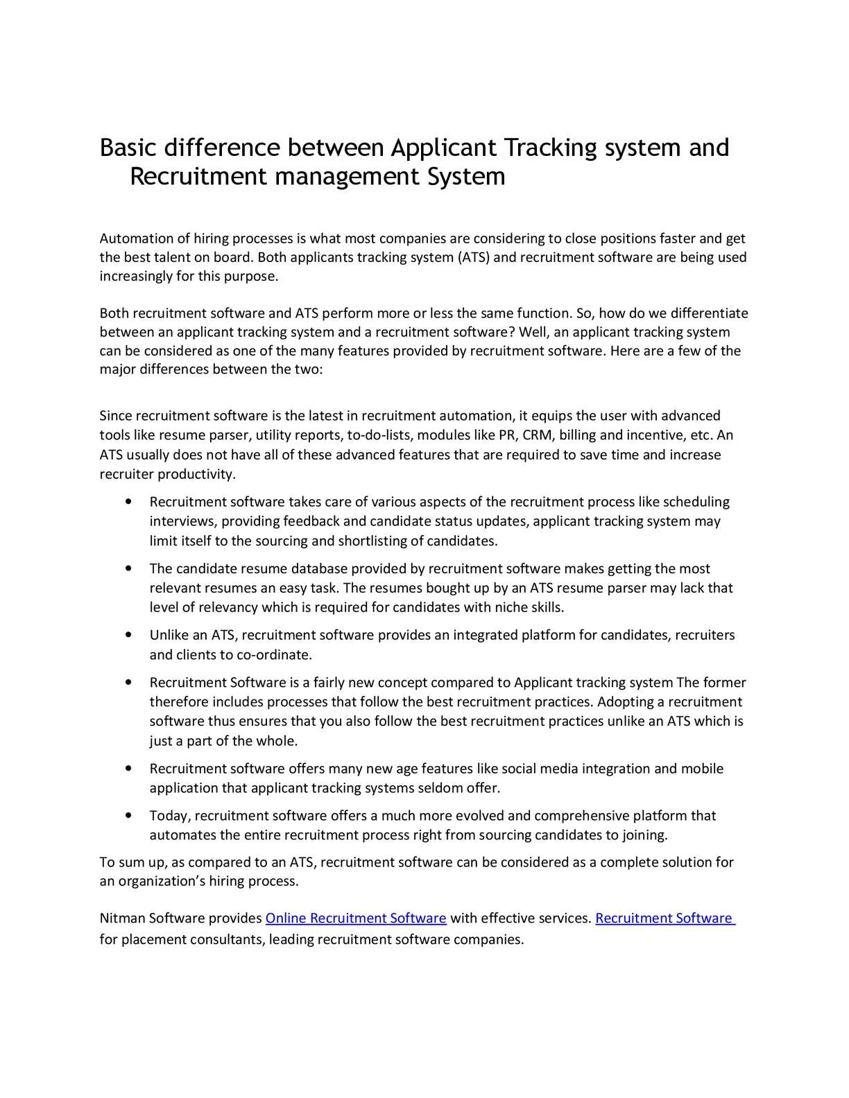 Calameo Basic Difference Between Applicant Tracking System And Recruitment Management System