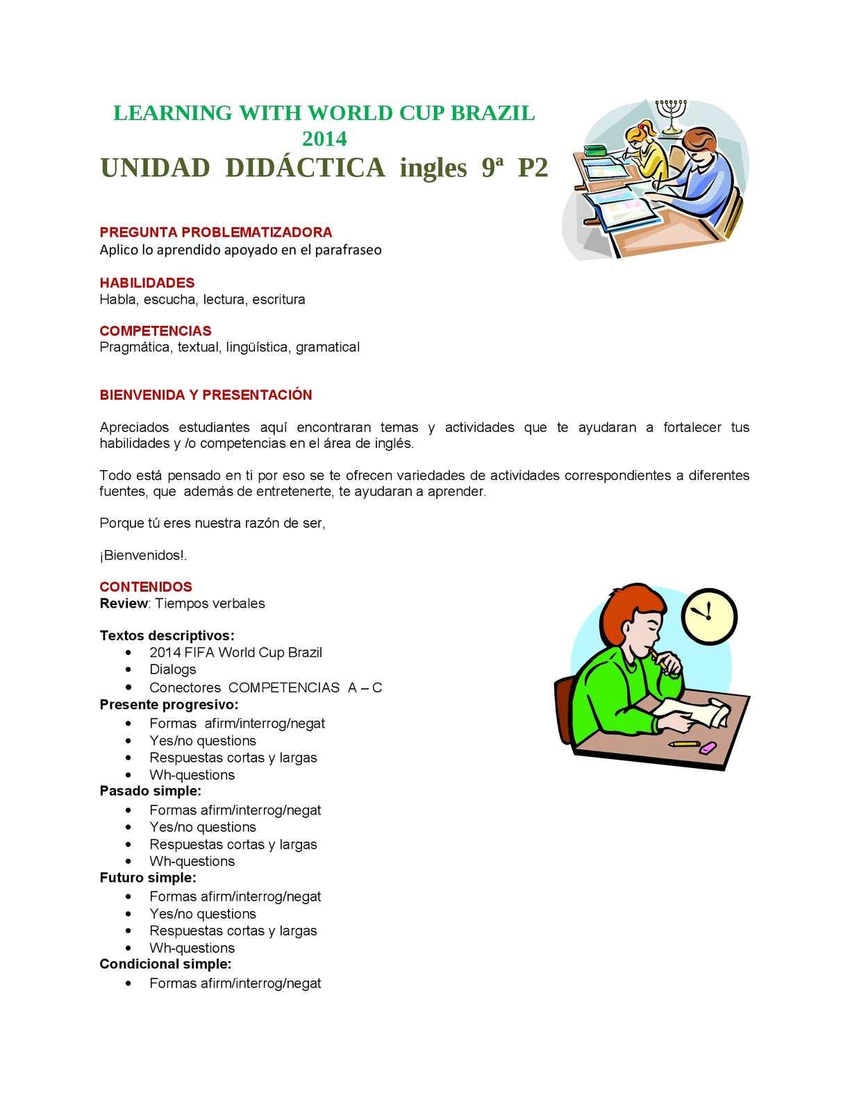 Calameo Unidad Didactica Ingles 9ª P2