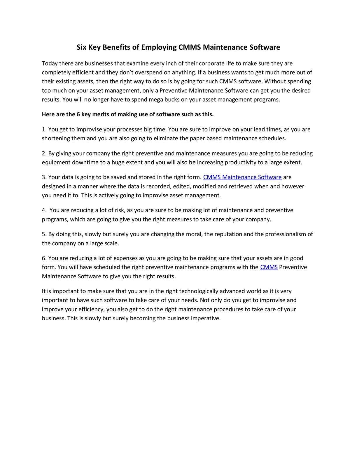 Calaméo - Six Key Benefits of Employing CMMS Maintenance